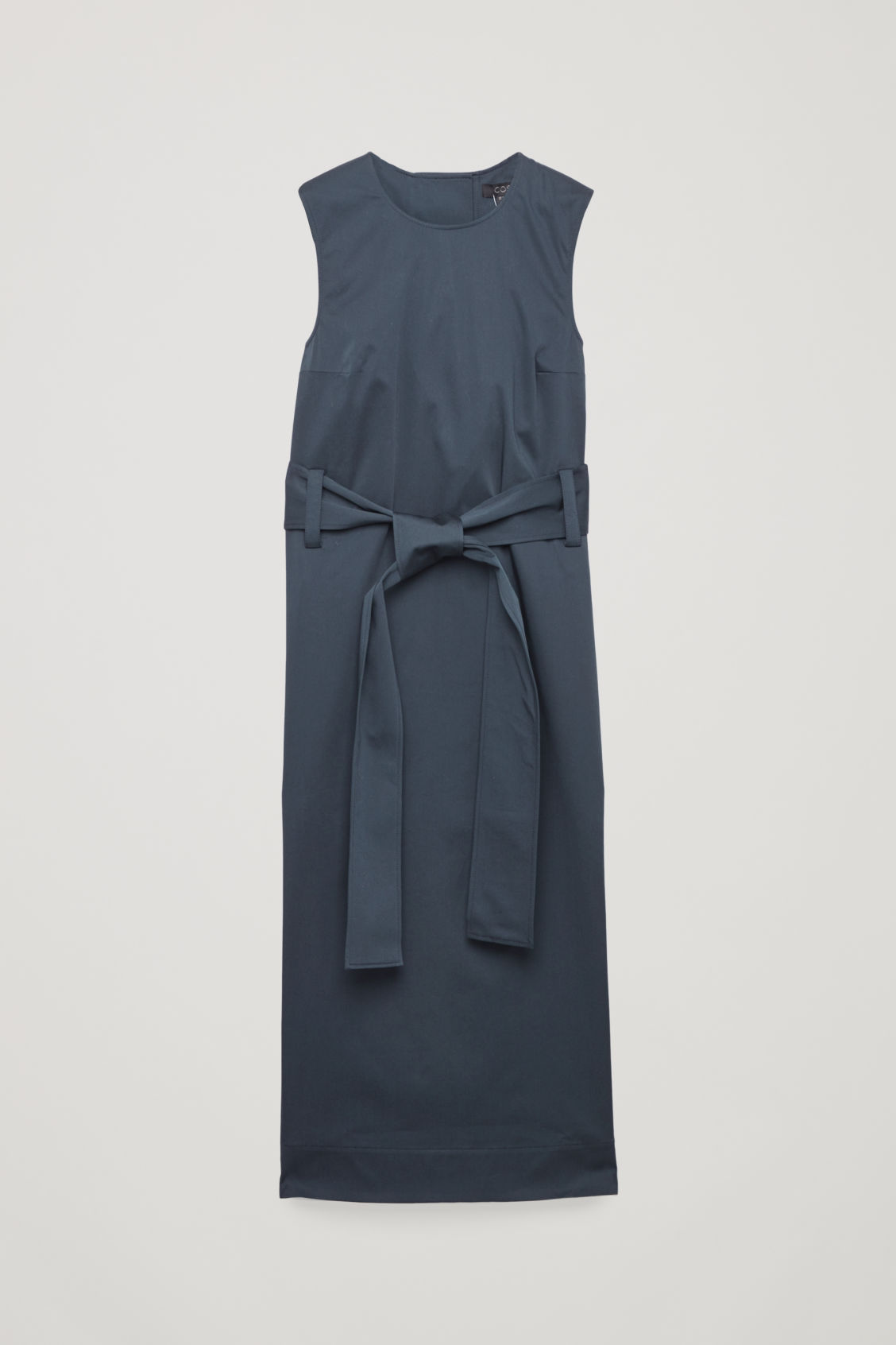 Front image of Cos belted sleeveless dress in blue