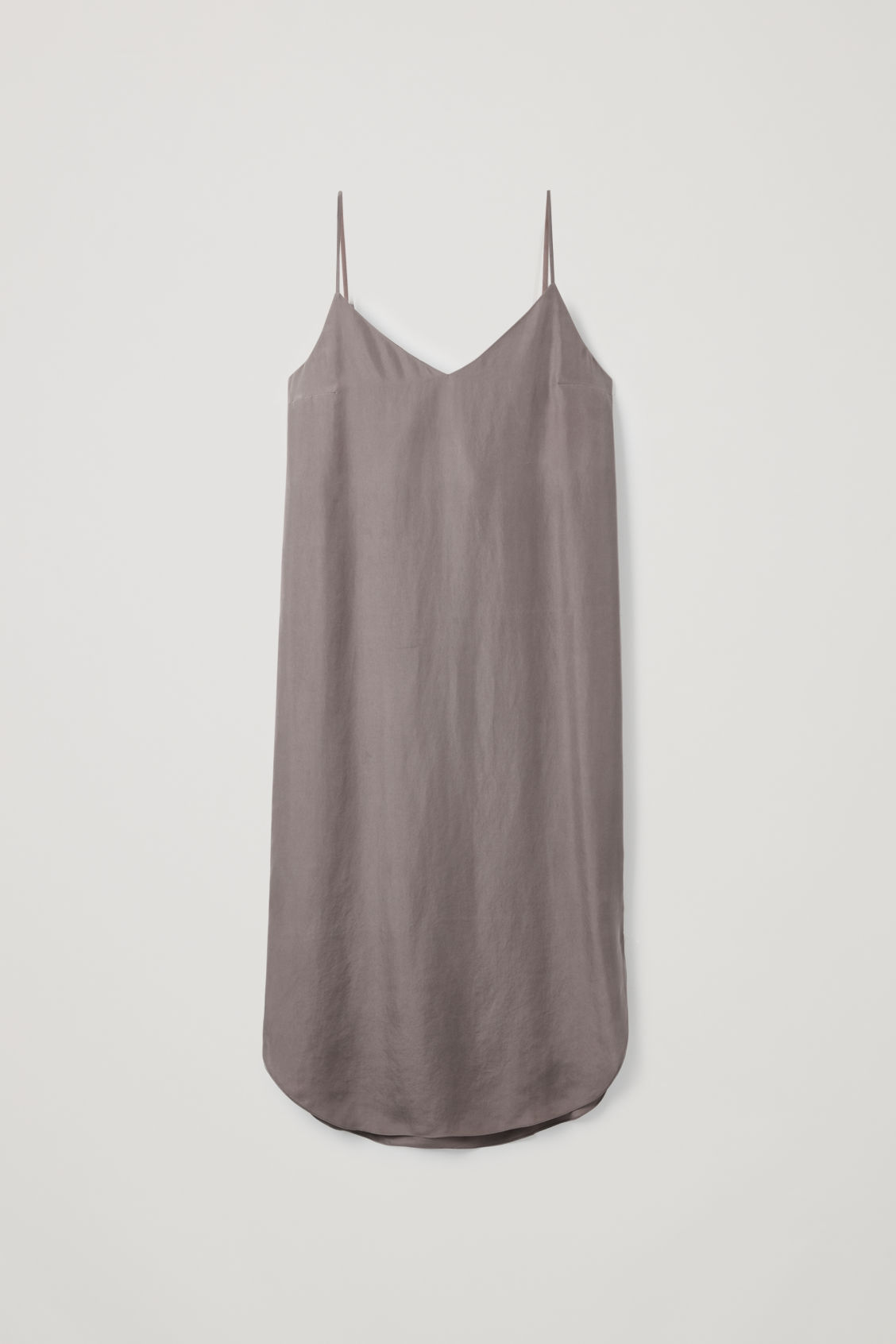 Front image of Cos silk slip dress in purple