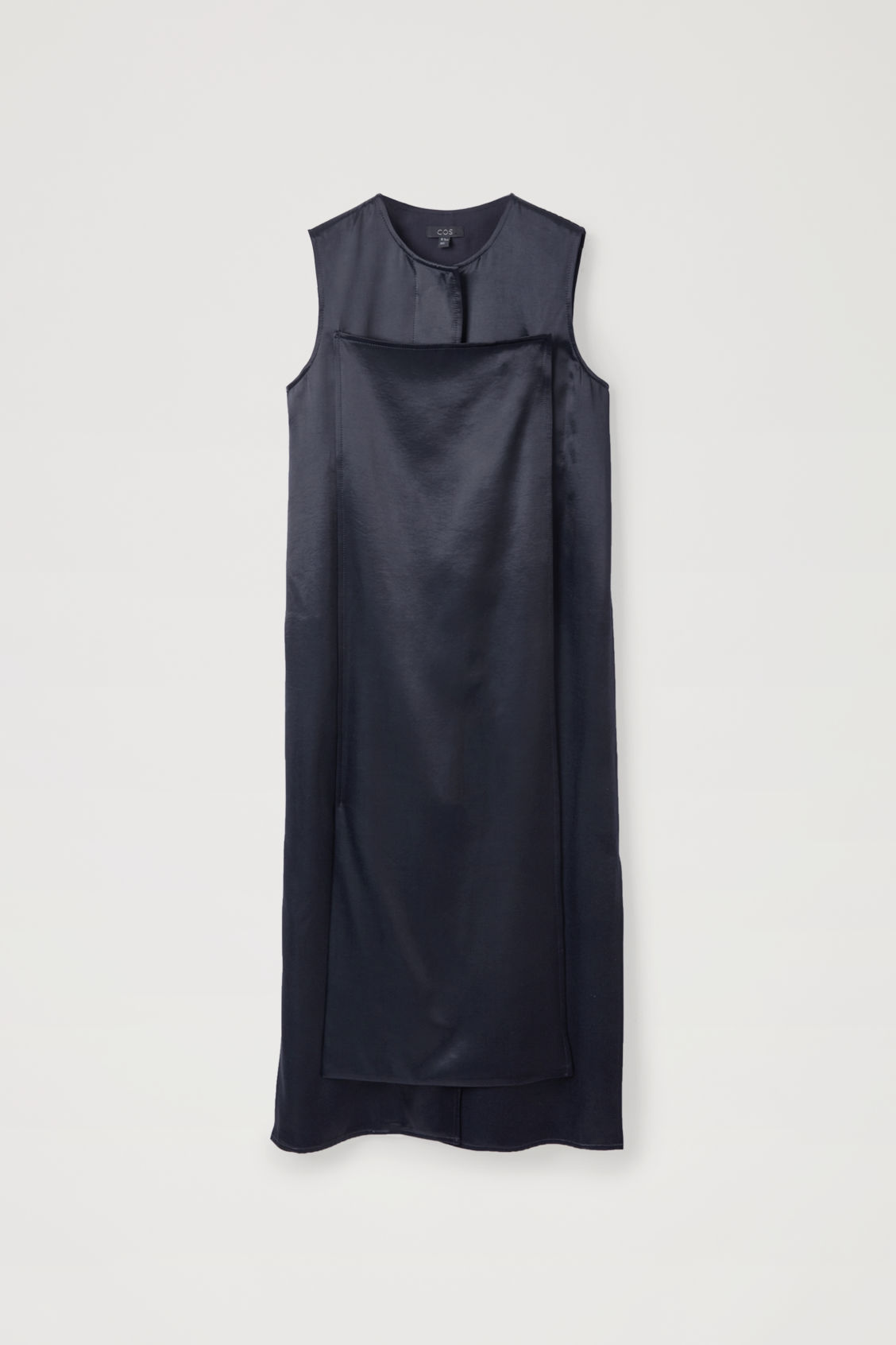 Front image of Cos trench-detail smooth sleeveless dress in blue