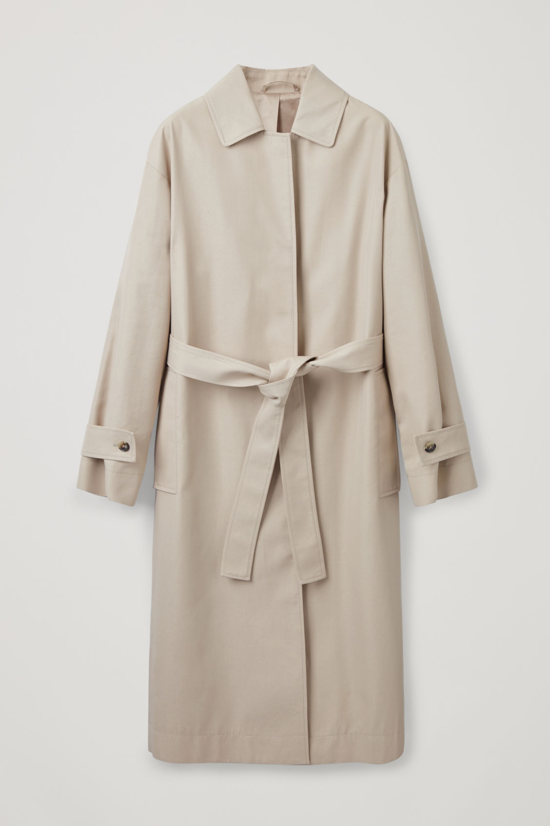 Front image of Cos organic-cotton trench coat  in beige