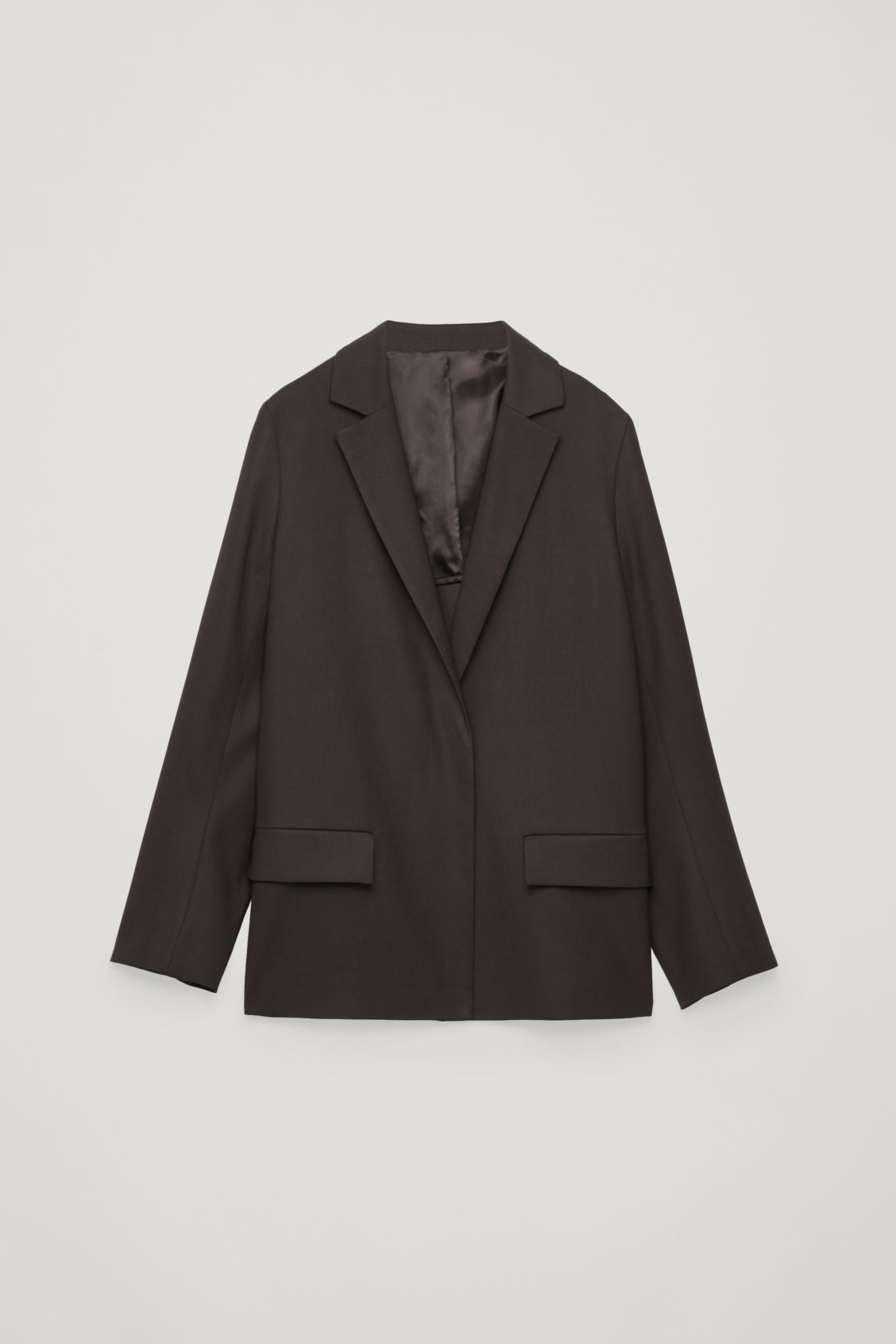Front image of Cos vent-detail blazer in brown