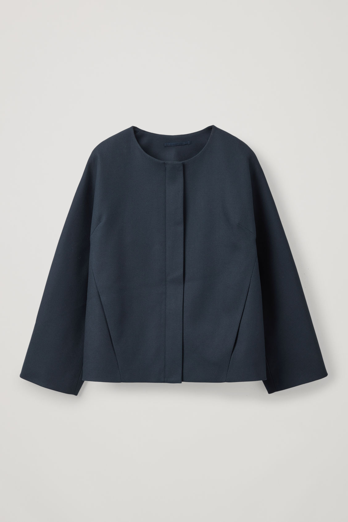Front image of Cos collarless zip-up blazer in blue