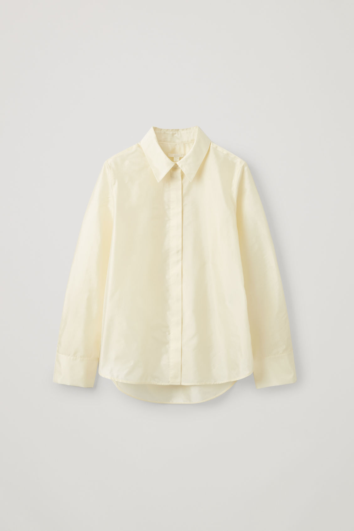 Front image of Cos silk-blend shirt with box pleats in beige