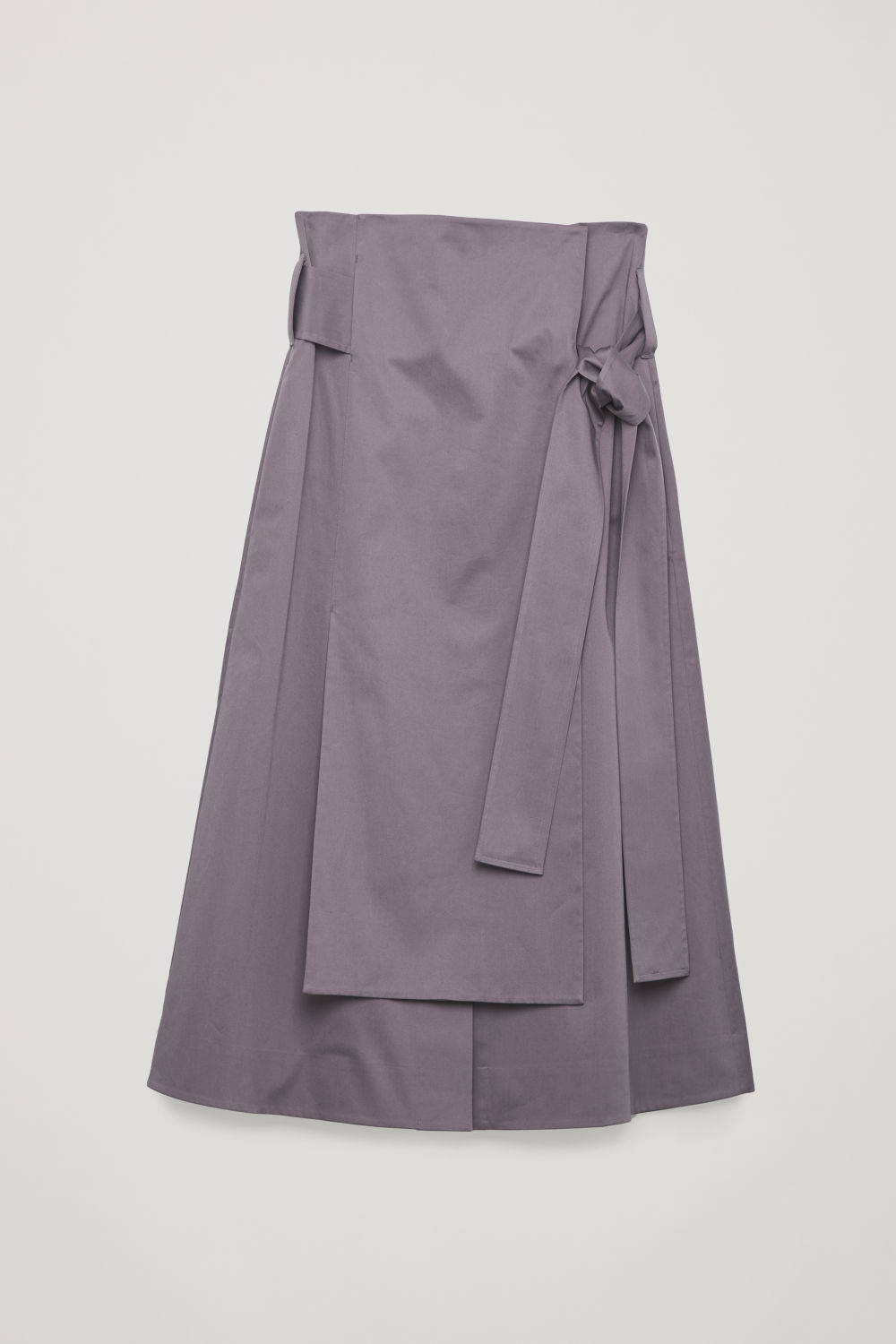 Front image of Cos belted cotton skirt in purple