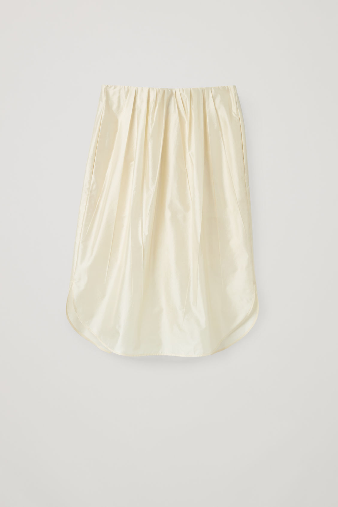 Front image of Cos pleated silk-blend skirt in beige