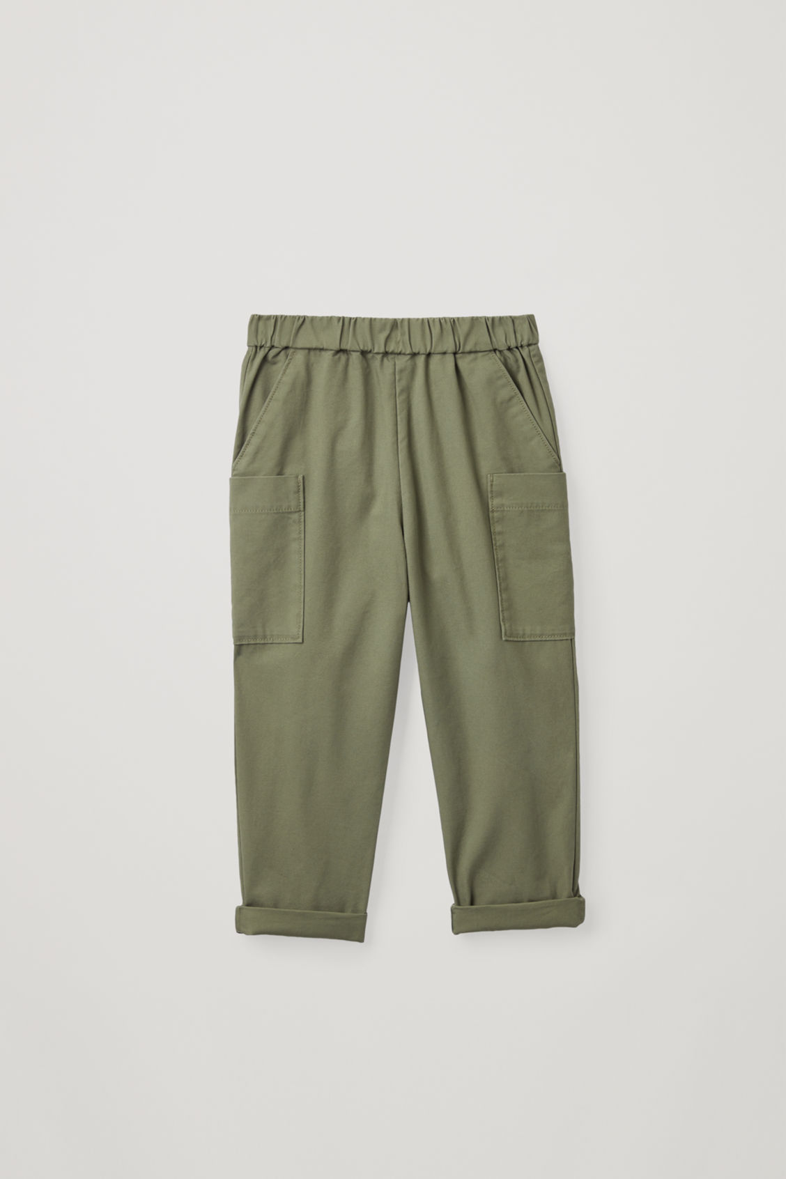 Front image of Cos cotton trousers with patch pockets  in green