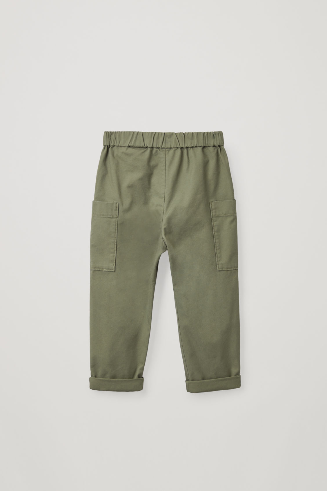 Side image of Cos cotton trousers with patch pockets  in green