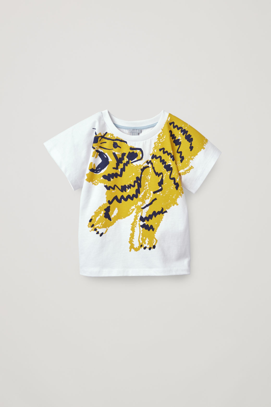 Front image of Cos tiger-print t-shirt in white