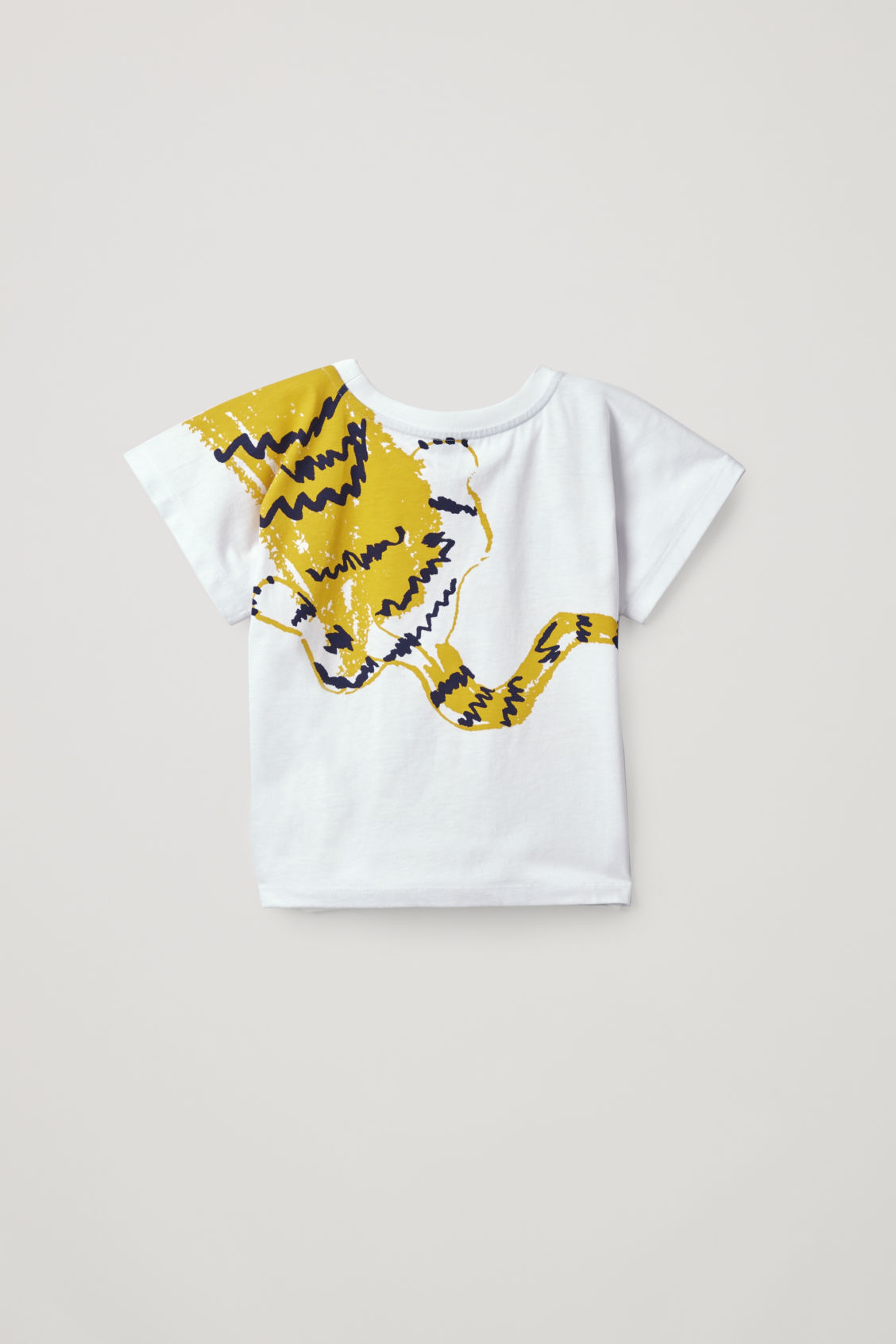 Side image of Cos tiger-print t-shirt in white