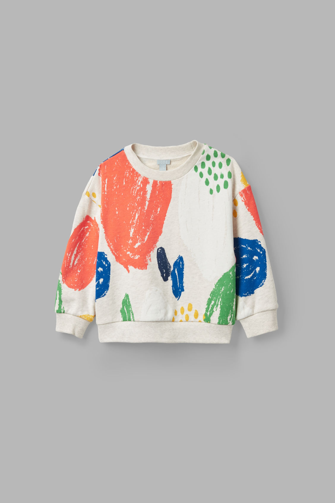 Front image of Cos paint-printed jersey sweatshirt in beige