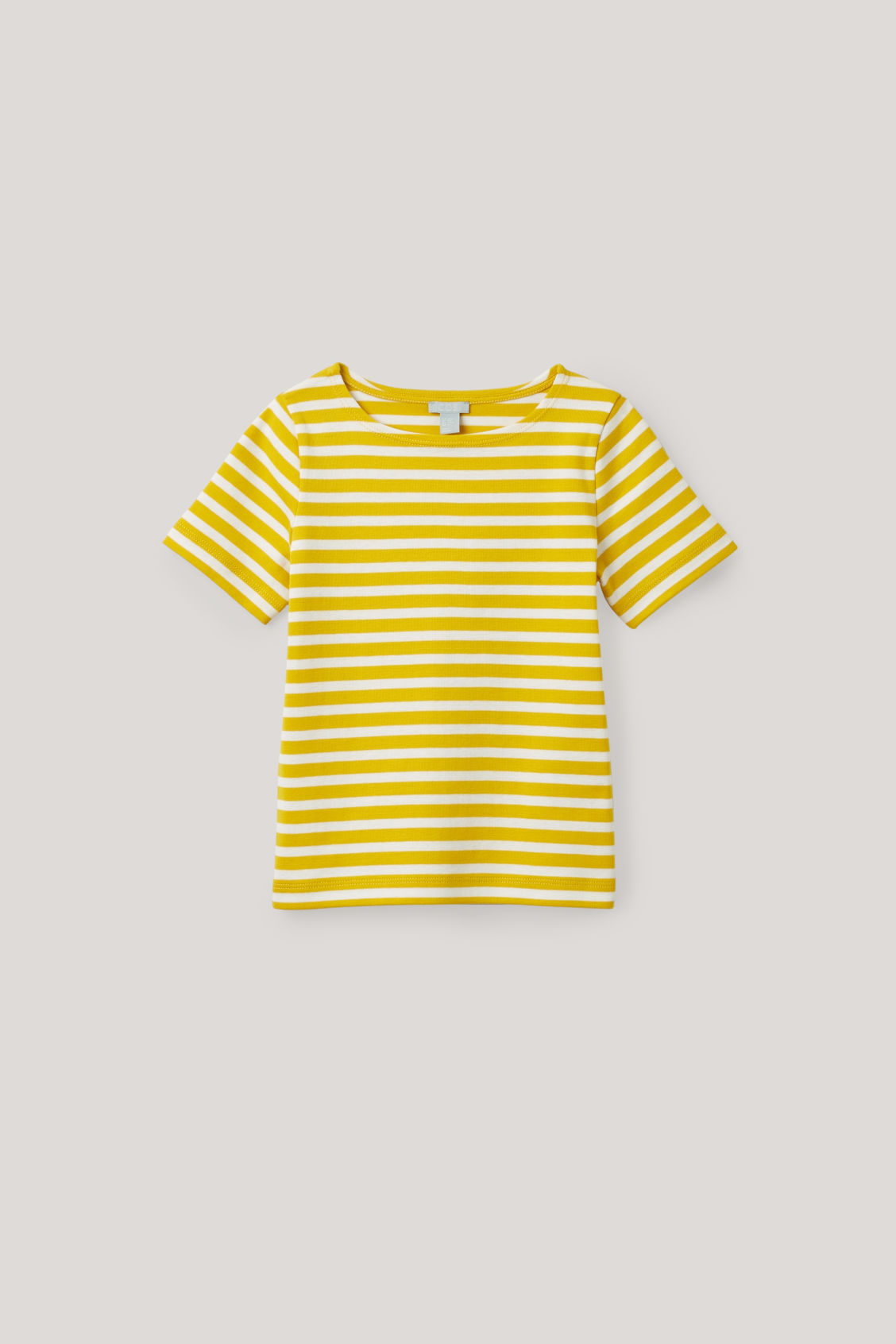 Front image of Cos striped short-sleeved t-shirt in yellow