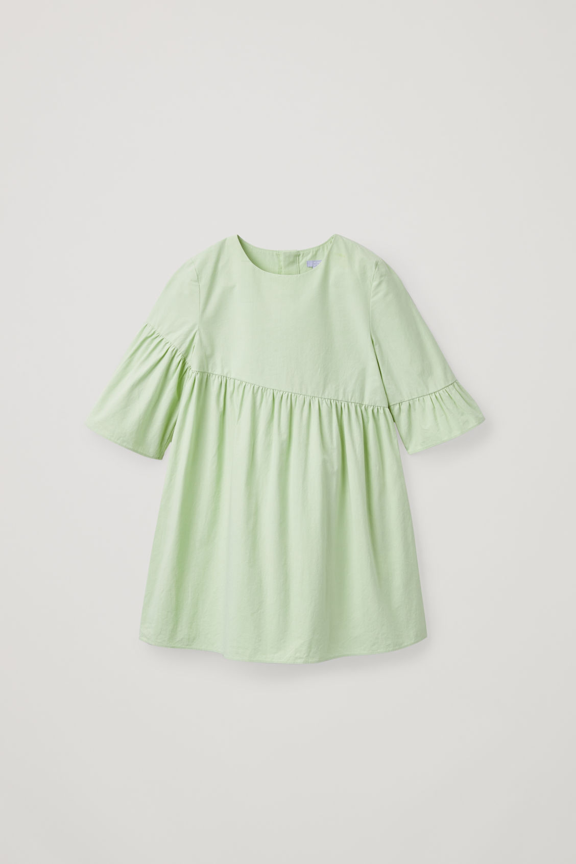 Front image of Cos asymmetric-frill dress in green