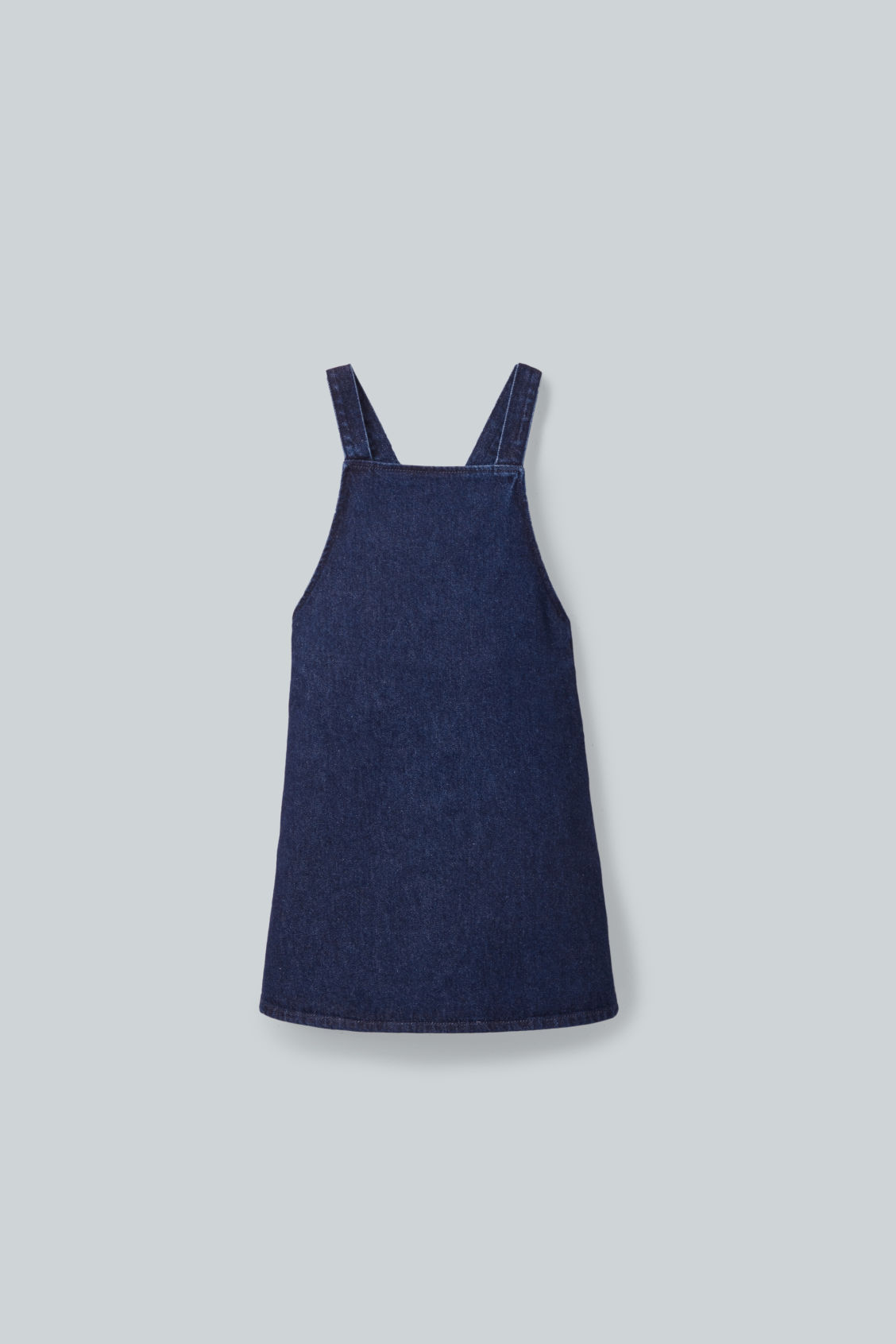 Front image of Cos structured apron dress in blue