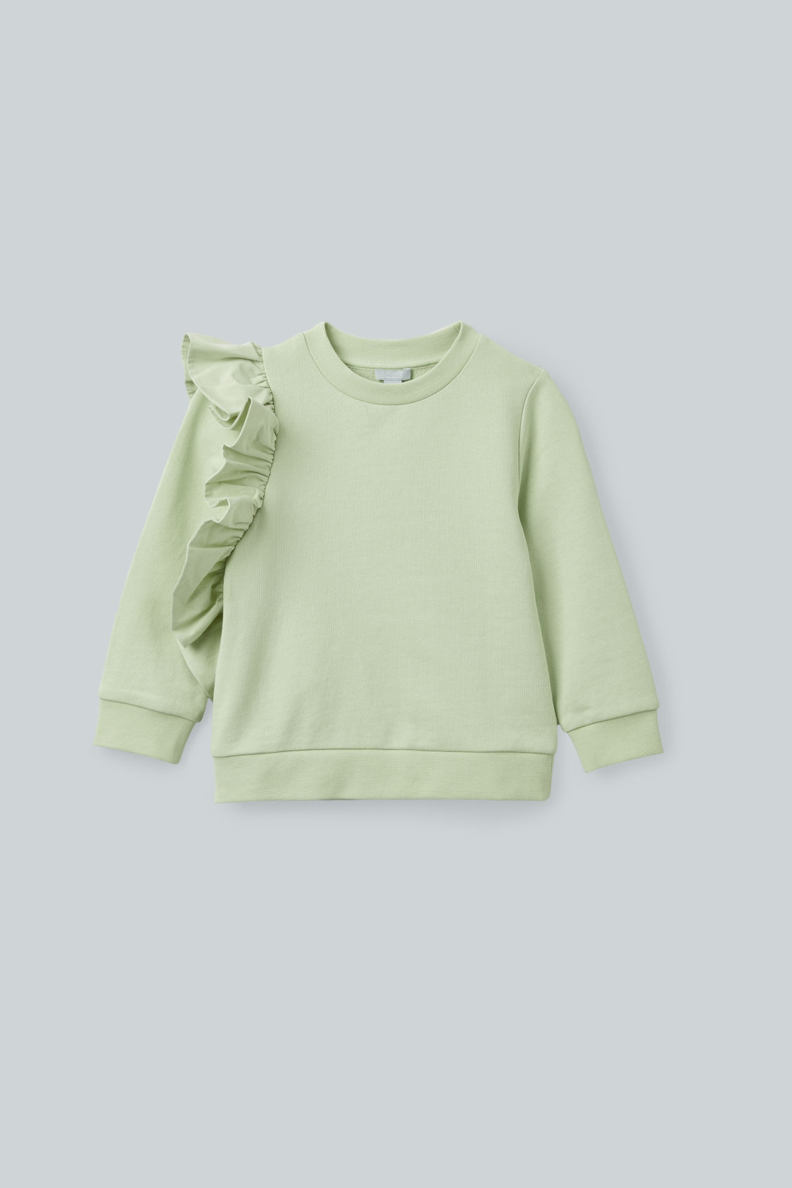 Front image of Cos frill-trimmed cotton sweatshirt  in green