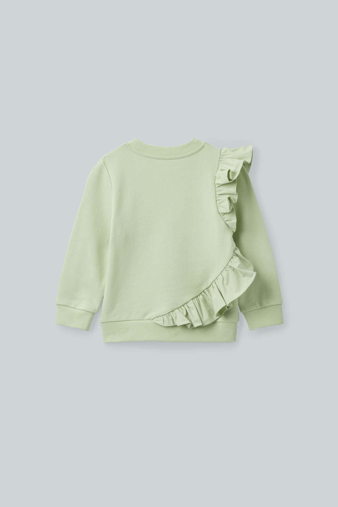 Side image of Cos frill-trimmed cotton sweatshirt  in green