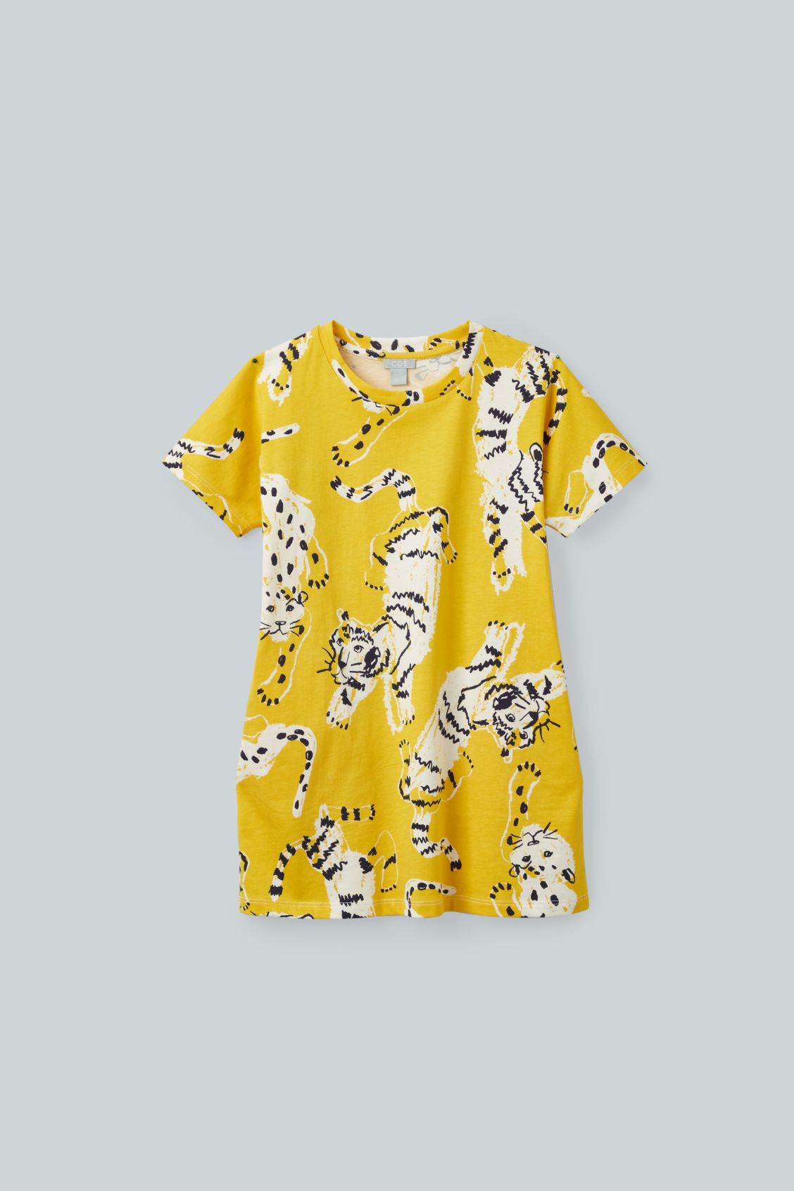 Front image of Cos tiger-printed jersey dress in yellow