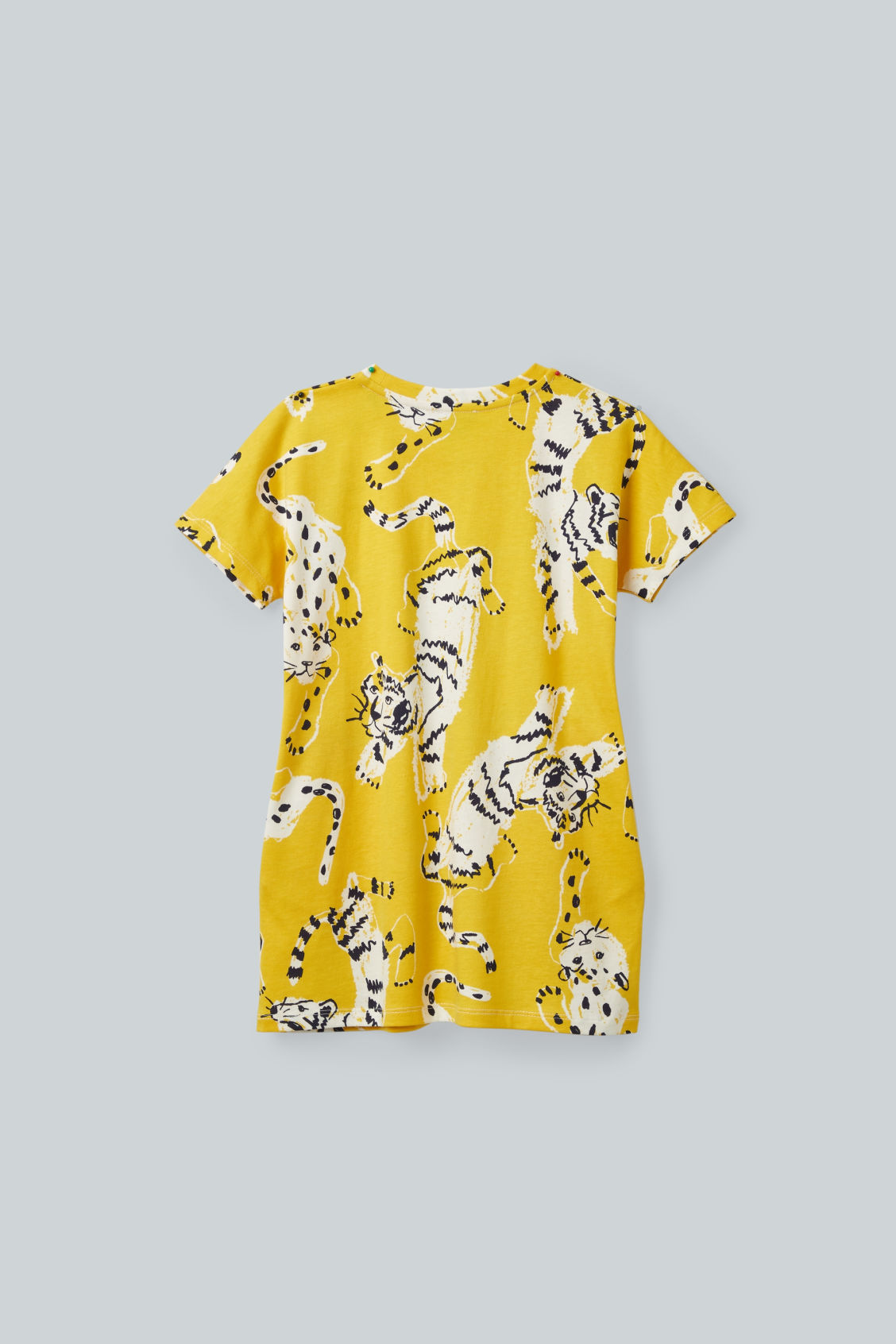 Side image of Cos tiger-printed jersey dress in yellow