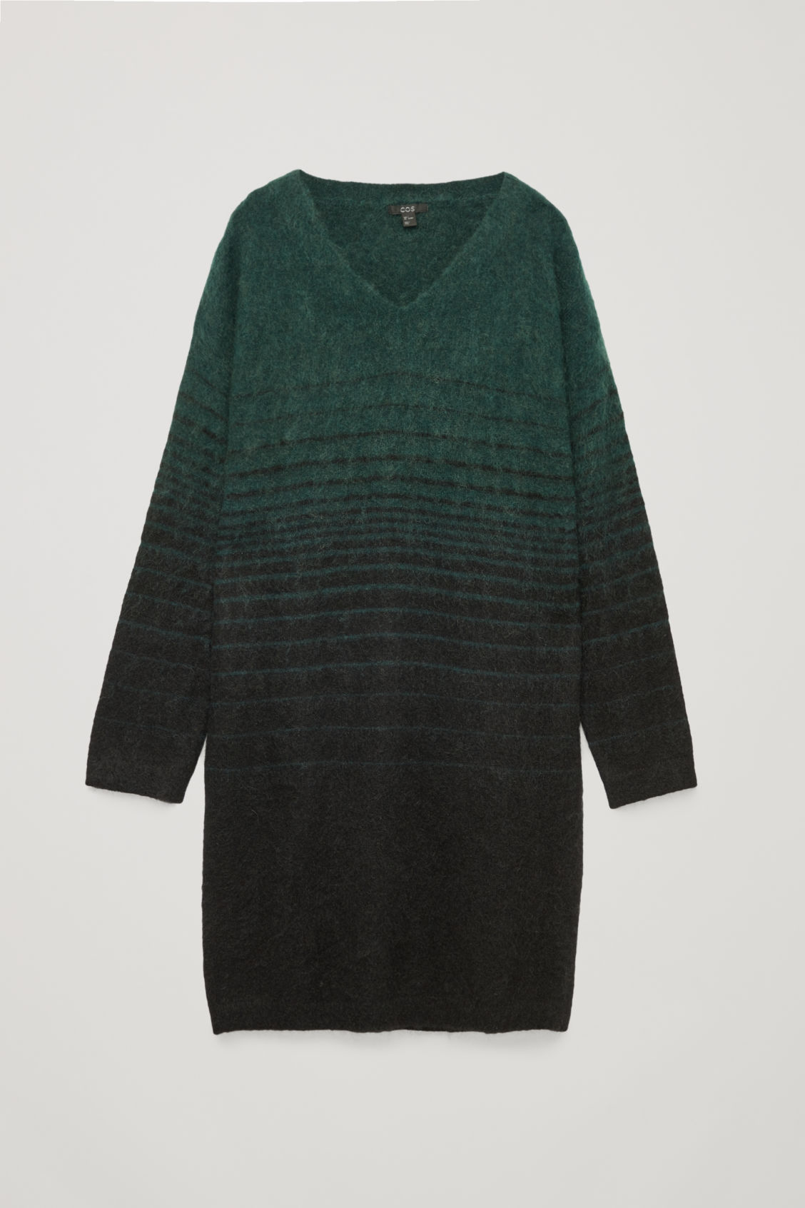 Front image of Cos straight dress with v-neck in green