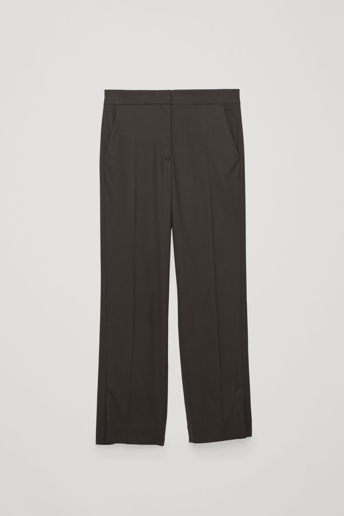 Front image of Cos vent-detail tailored trousers in brown