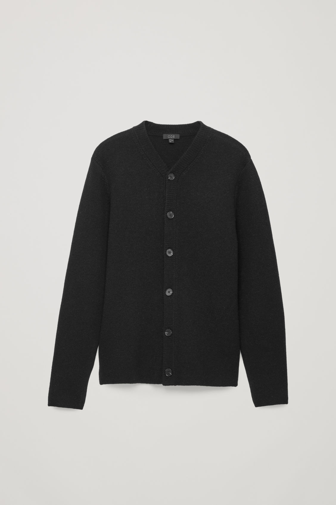 Front image of Cos lambswool knitted cardigan in black