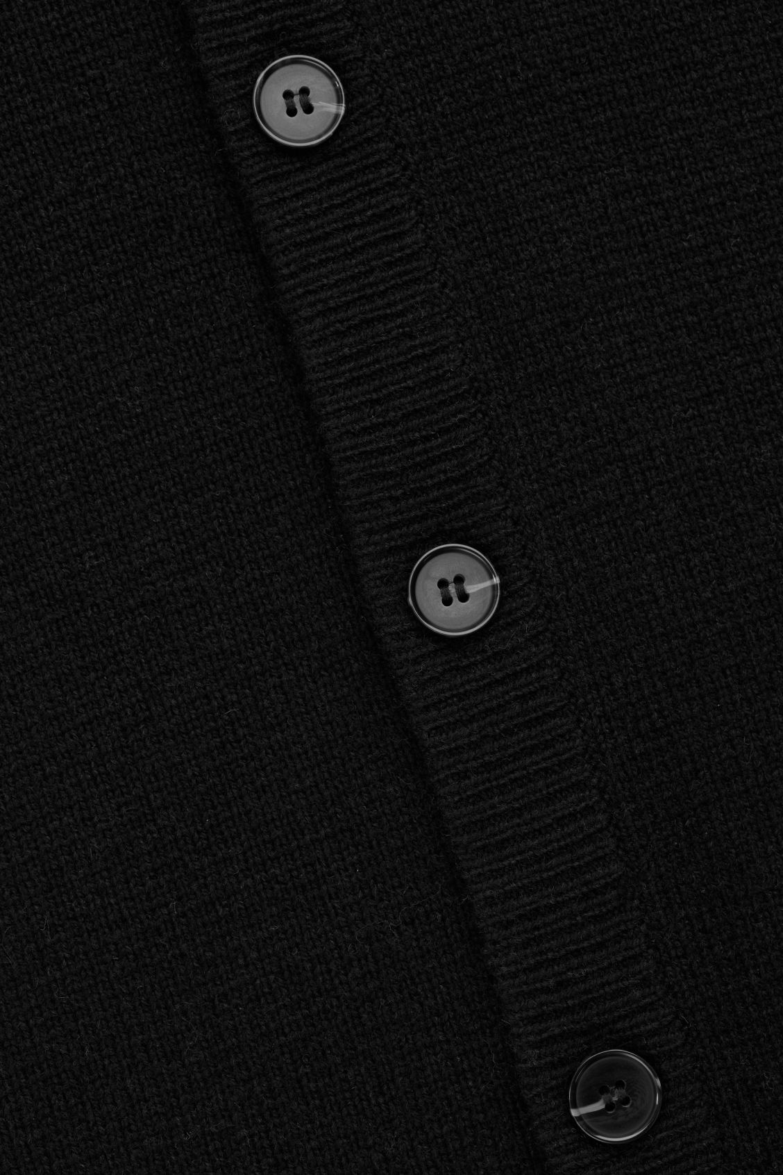 Side image of Cos lambswool knitted cardigan in black