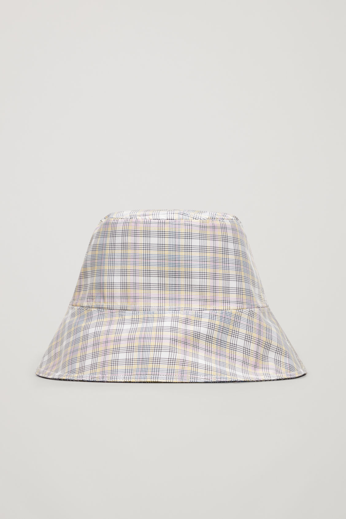 Side image of Cos checked waxed bucket hat  in beige