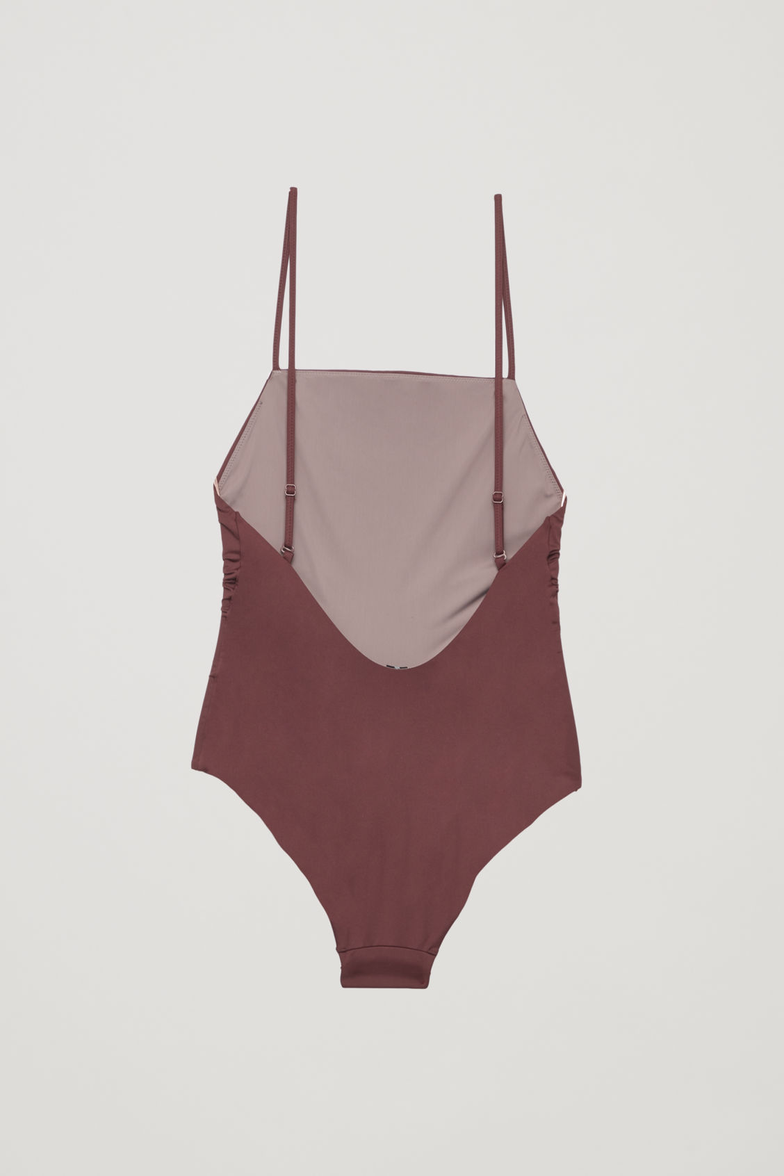 Side image of Cos crossover square-neck swimsuit  in red