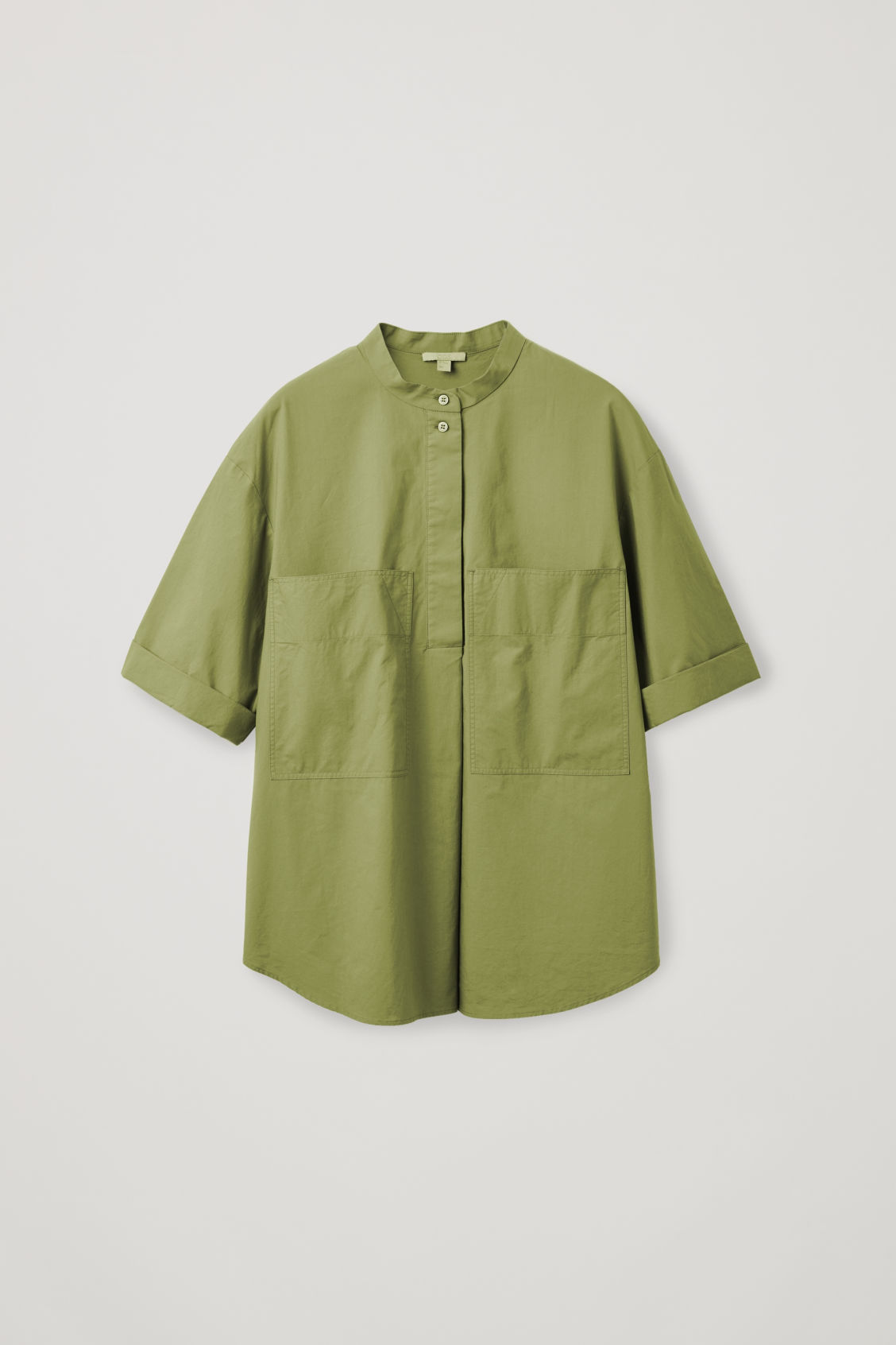 Front image of Cos patch-pocket cotton a-line shirt in green