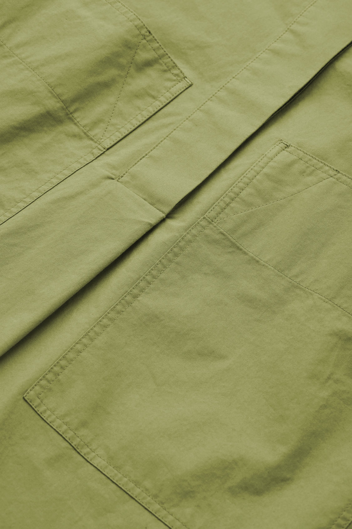 Side image of Cos patch-pocket cotton a-line shirt in green