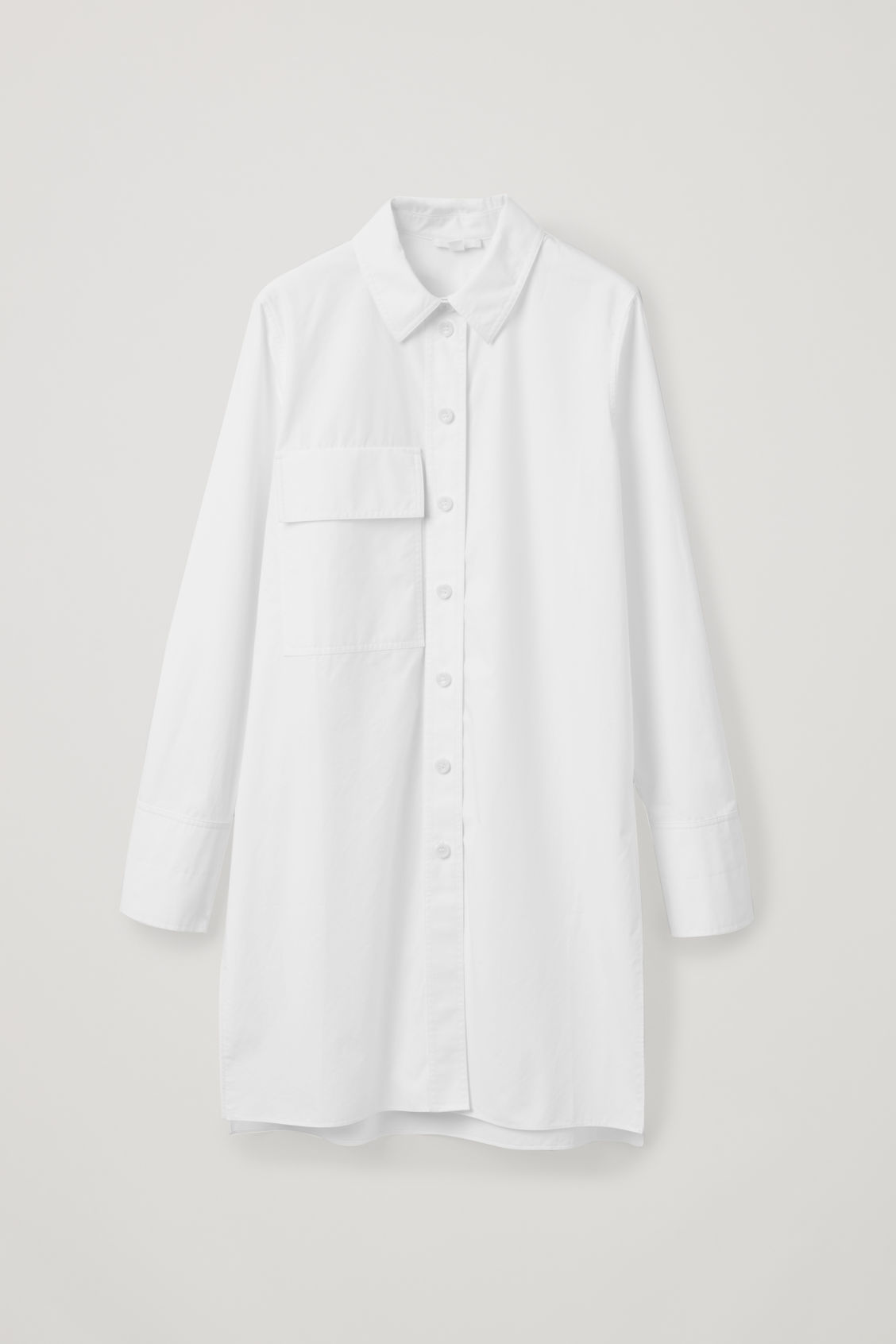 Front image of Cos long shirt with pocket in white