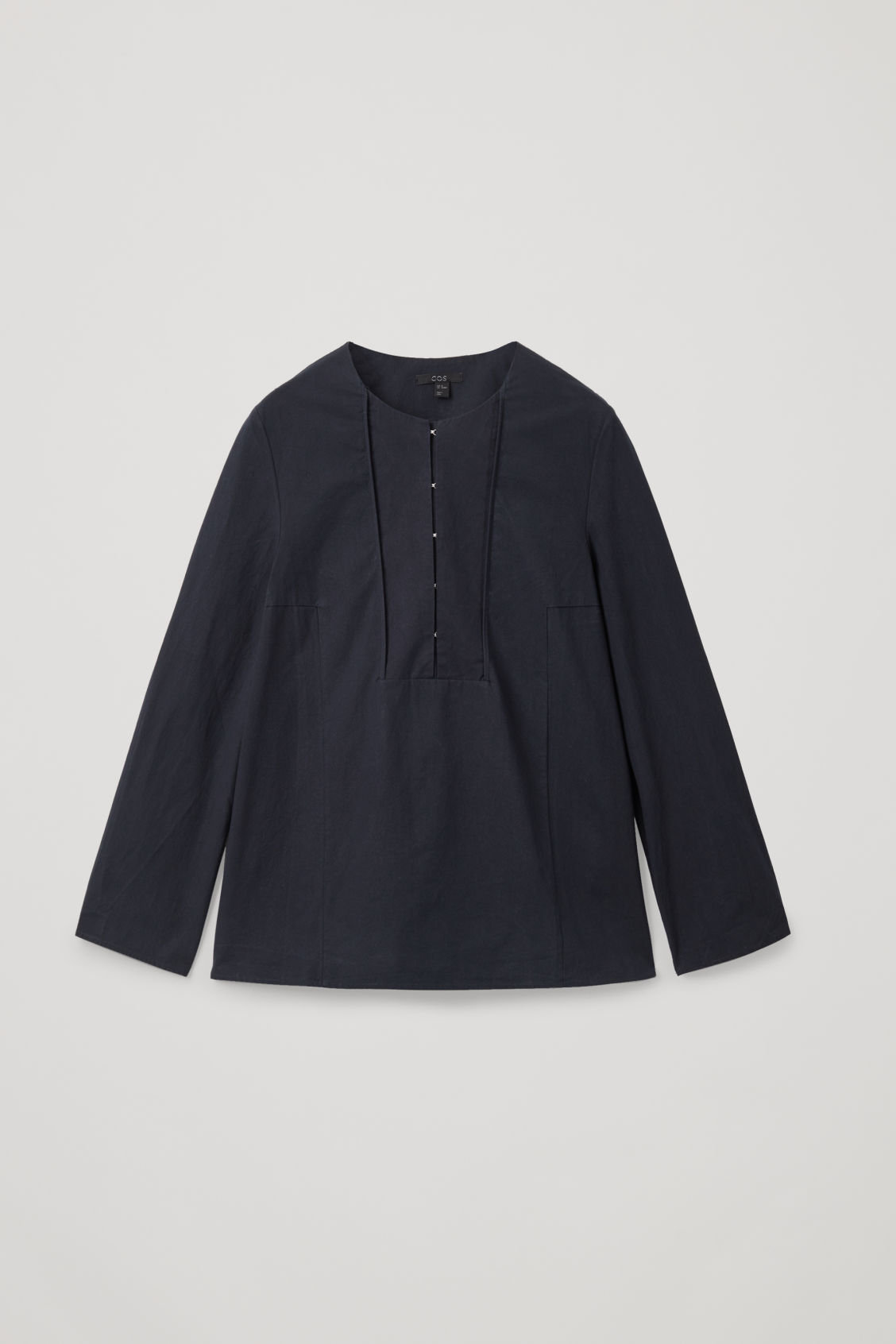 Front image of Cos hook-fastened poplin blouse in blue