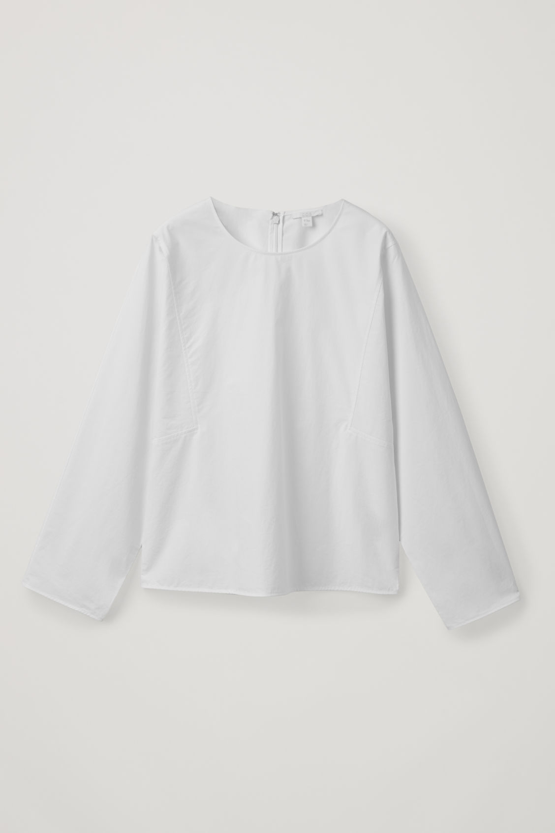 Front image of Cos cotton boat-neck top in white