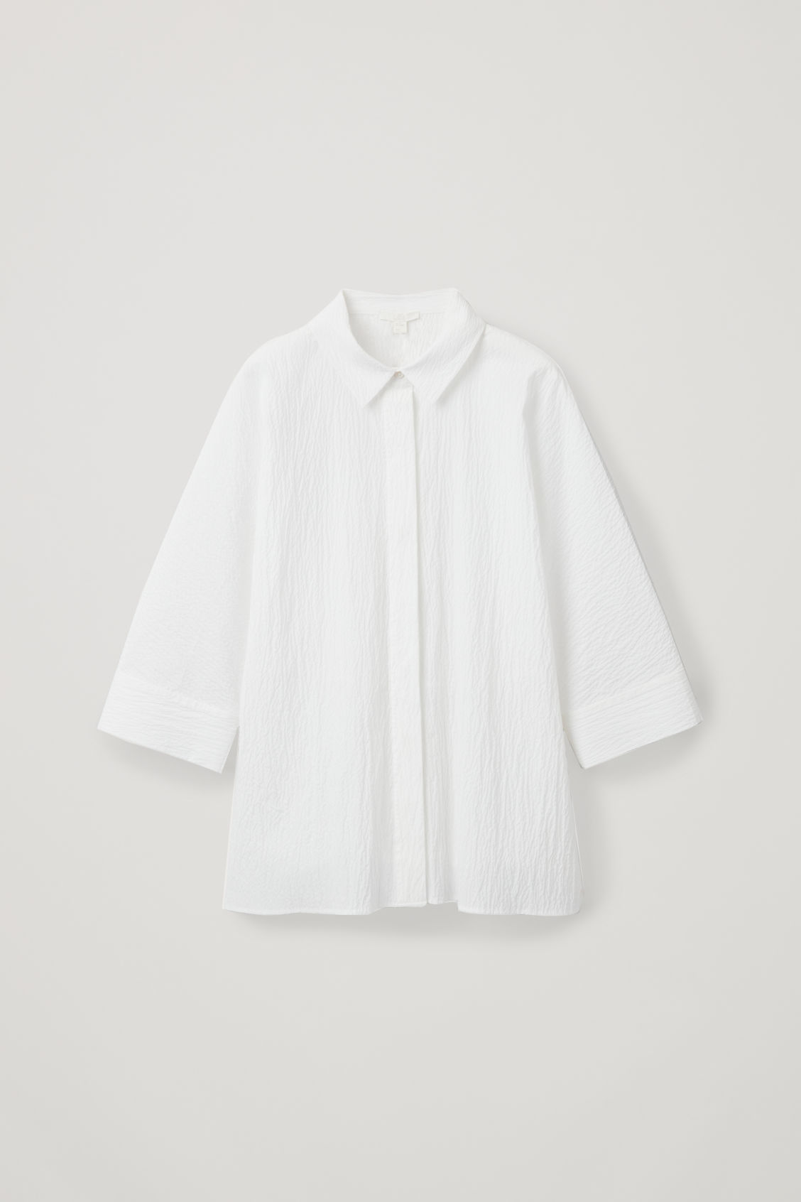 Front image of Cos loose-fit seersucker shirt  in white