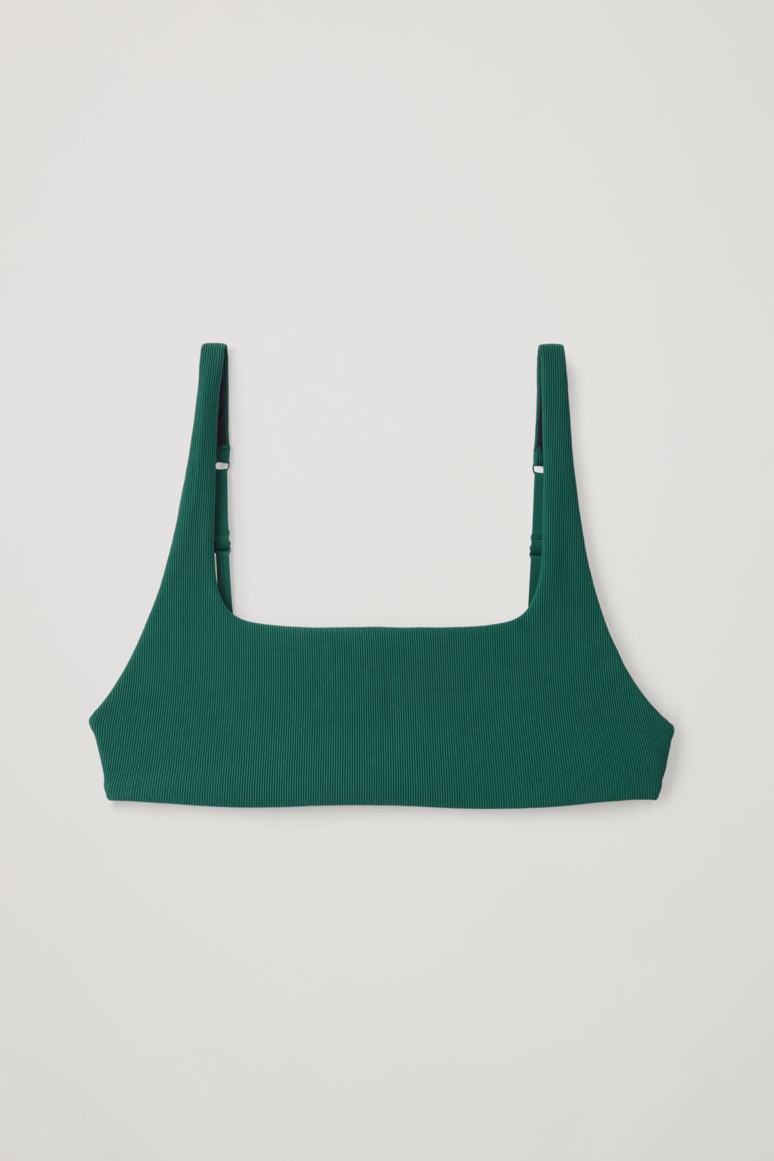 Front image of Cos ribbed bikini top in green