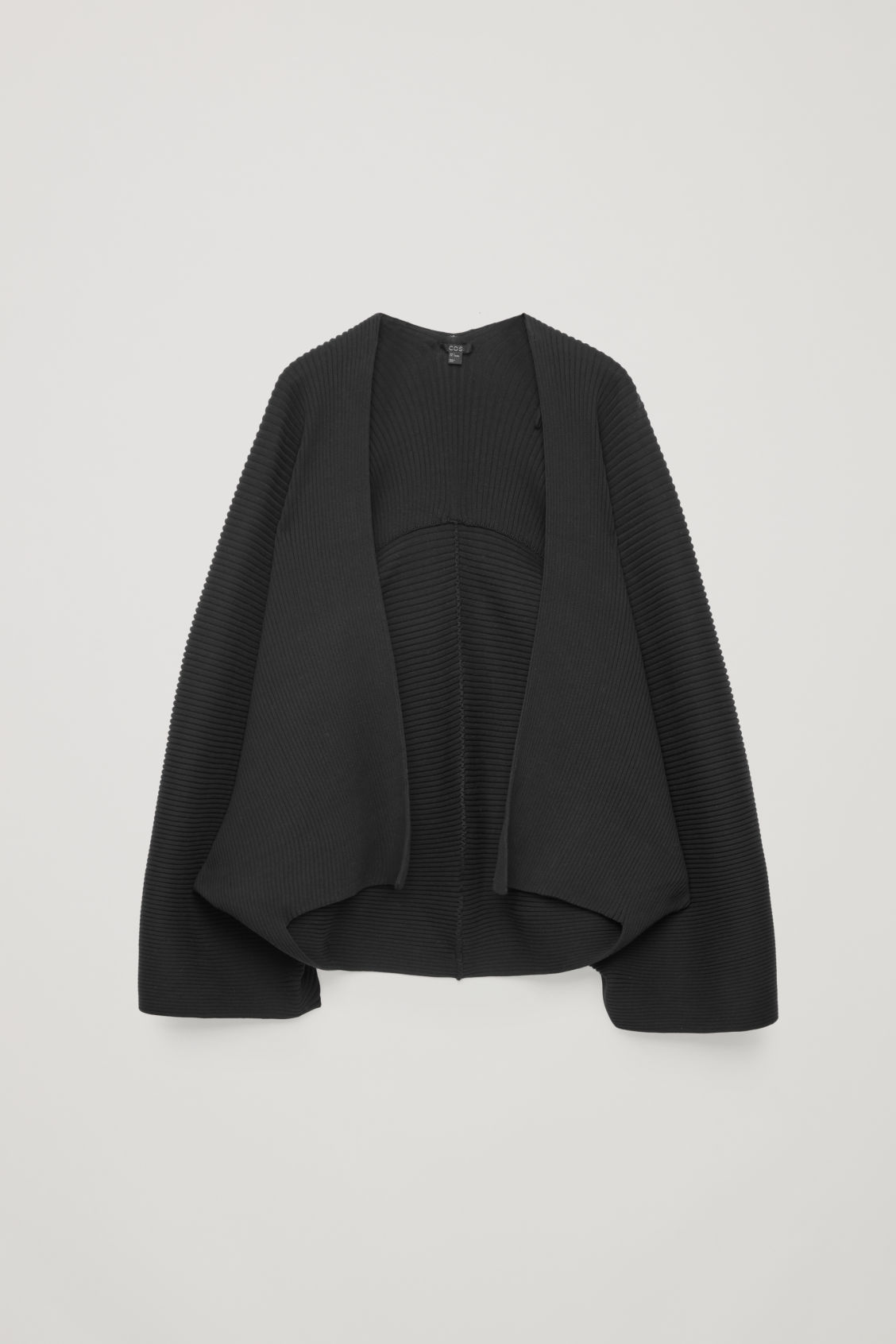 Front image of Cos cocoon ribbed cape in black
