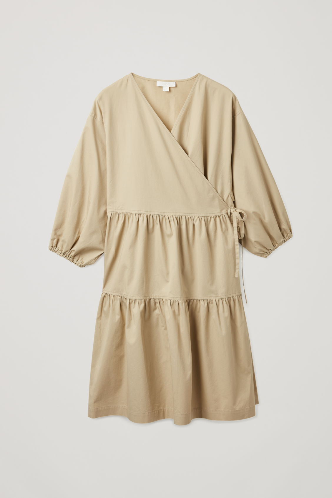Front image of Cos gathered a-line wrap dress  in beige