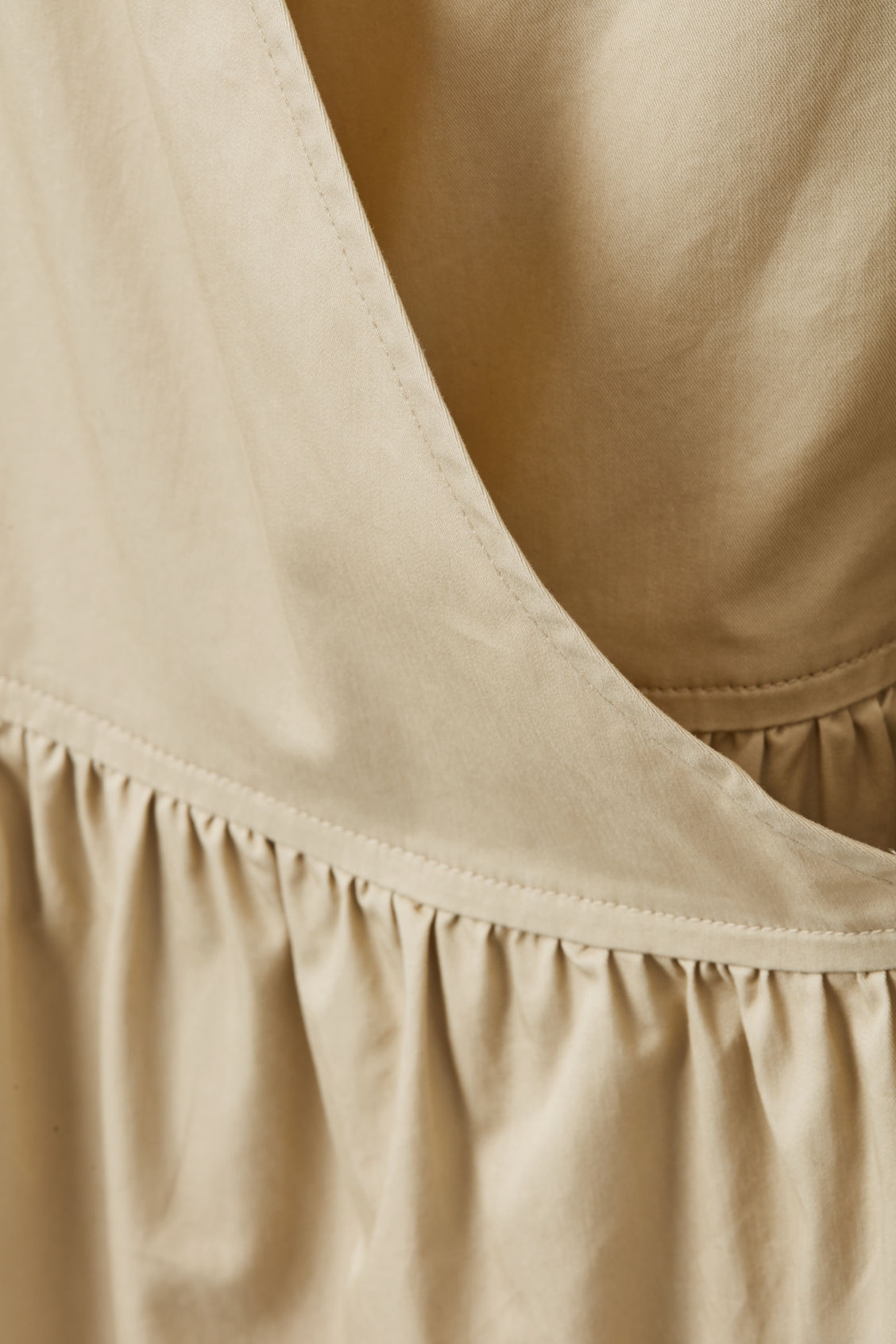 Side image of Cos gathered a-line wrap dress  in beige
