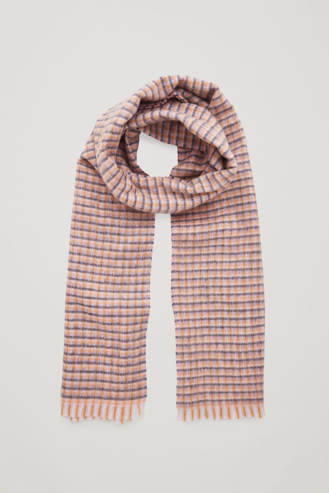 Front image of Cos checked wool-cashmere scarf  in blue