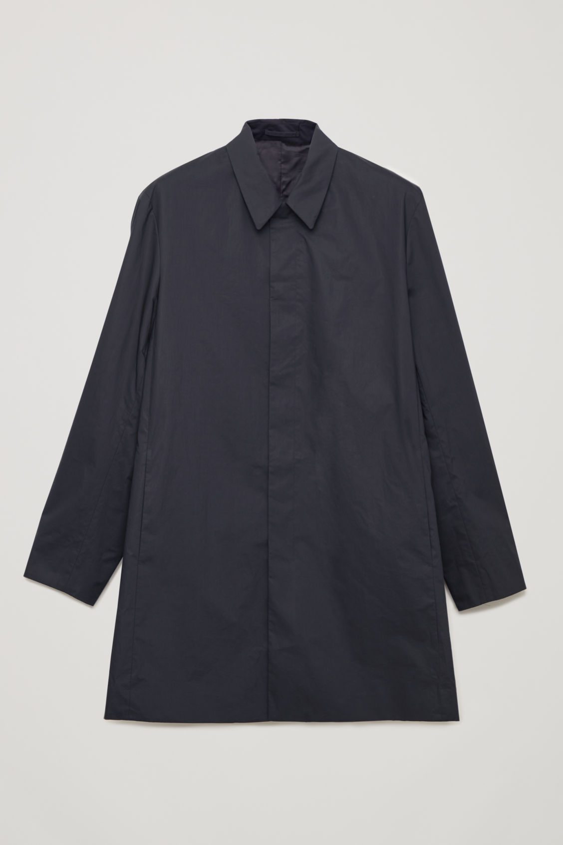 Front image of Cos lightweight cotton car coat in blue