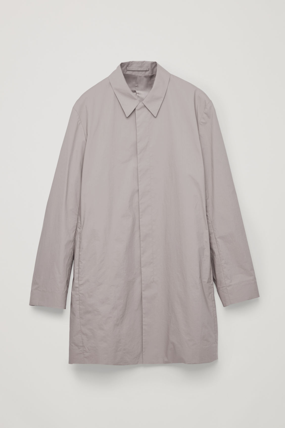 Front image of Cos lightweight cotton car coat in brown