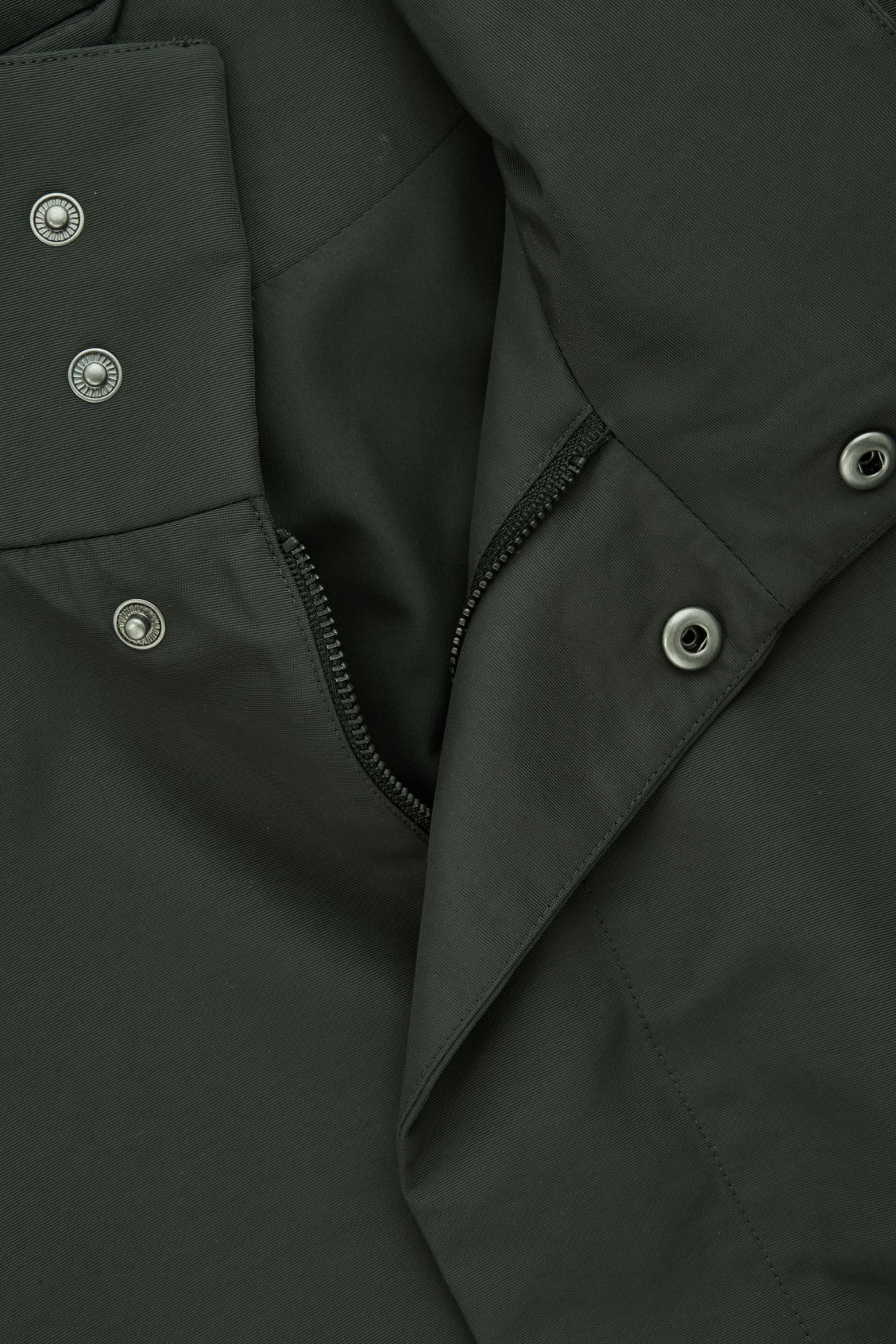 Side image of Cos light funnel-neck jacket in green
