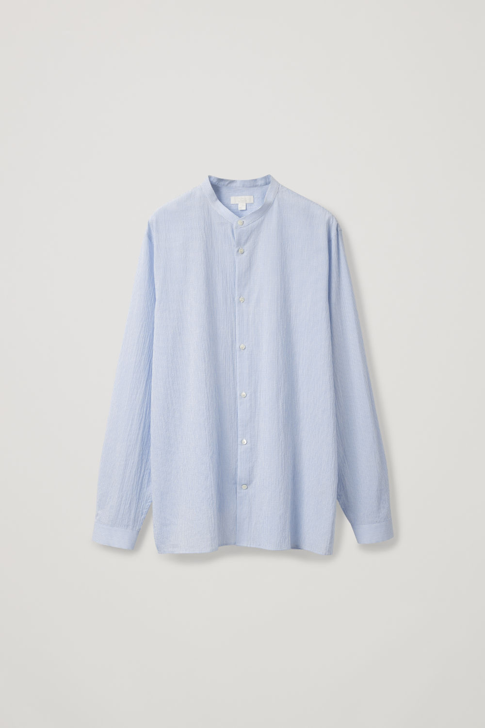 Front image of Cos fine-striped grandad shirt in blue