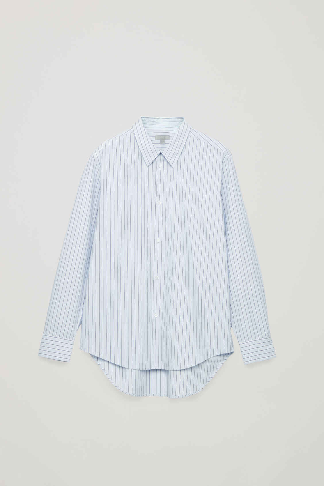 Front image of Cos stepped multi-stripe shirt in blue