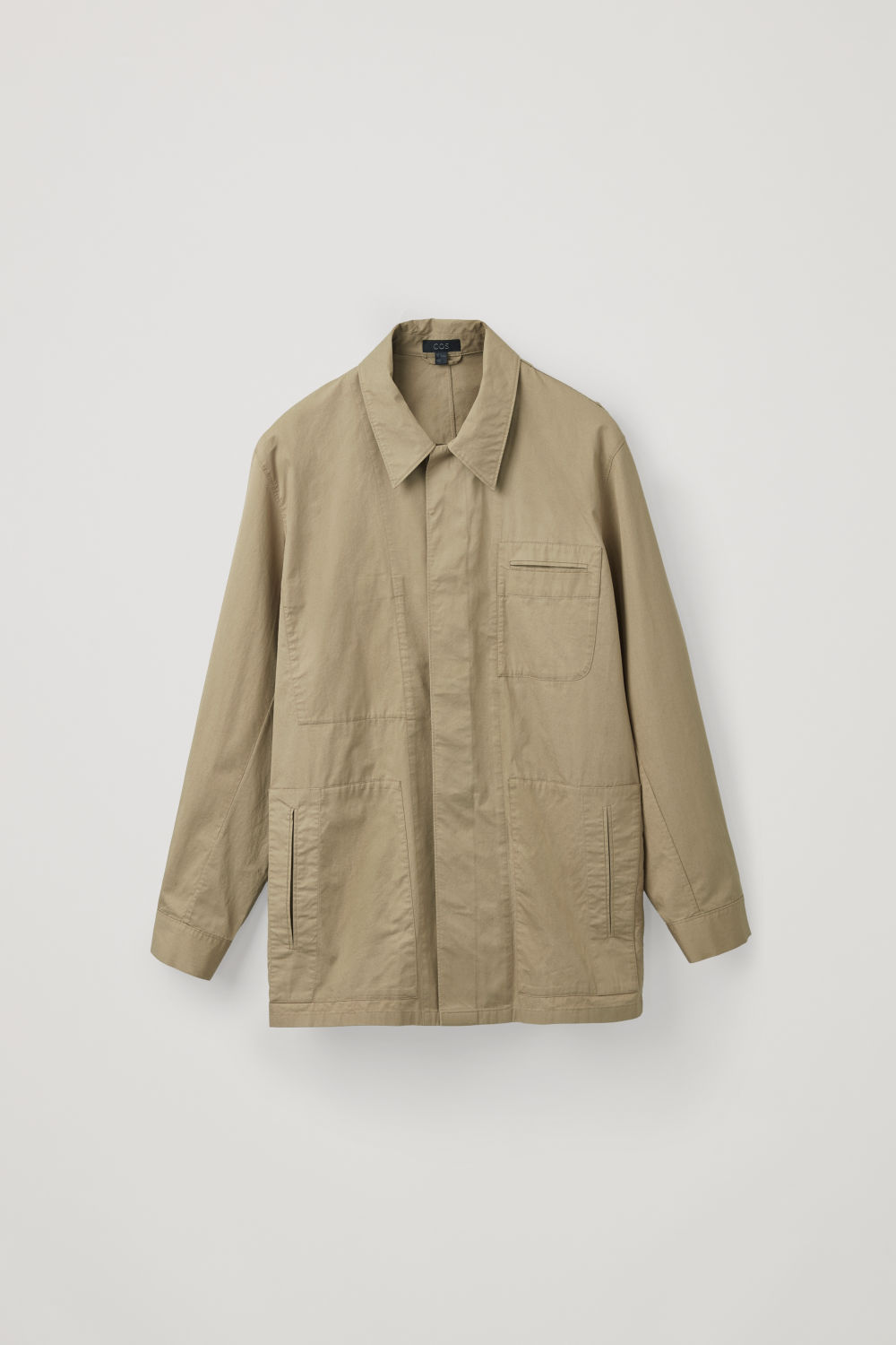 Front image of Cos casual workwear shirt jacket in beige