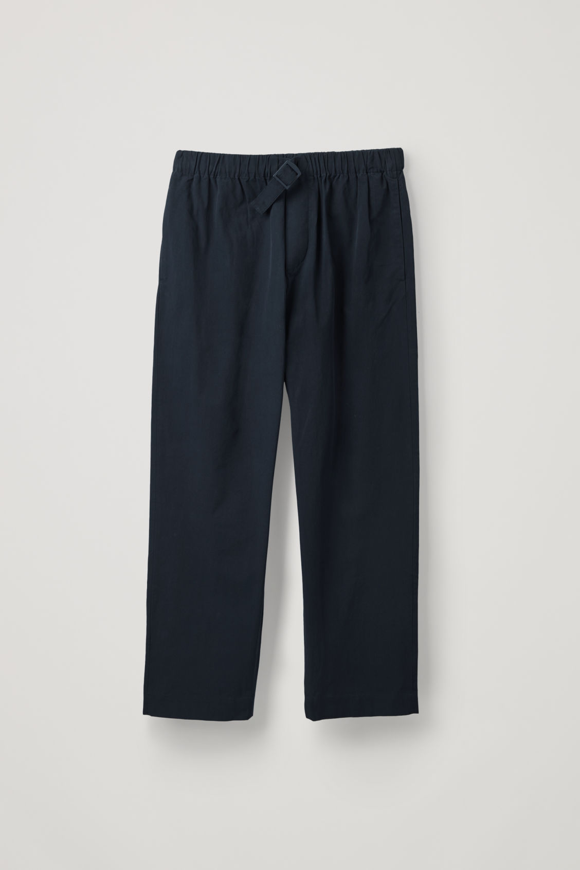 Front image of Cos relaxed cotton trousers with buckle  in blue