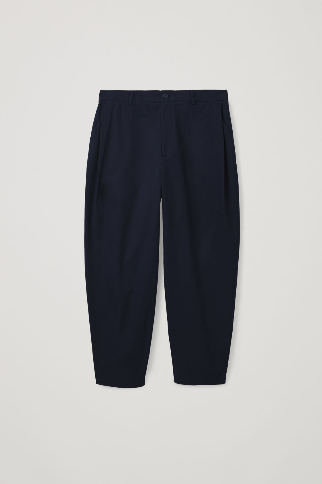 Front image of Cos wide-leg pleated chinos in blue