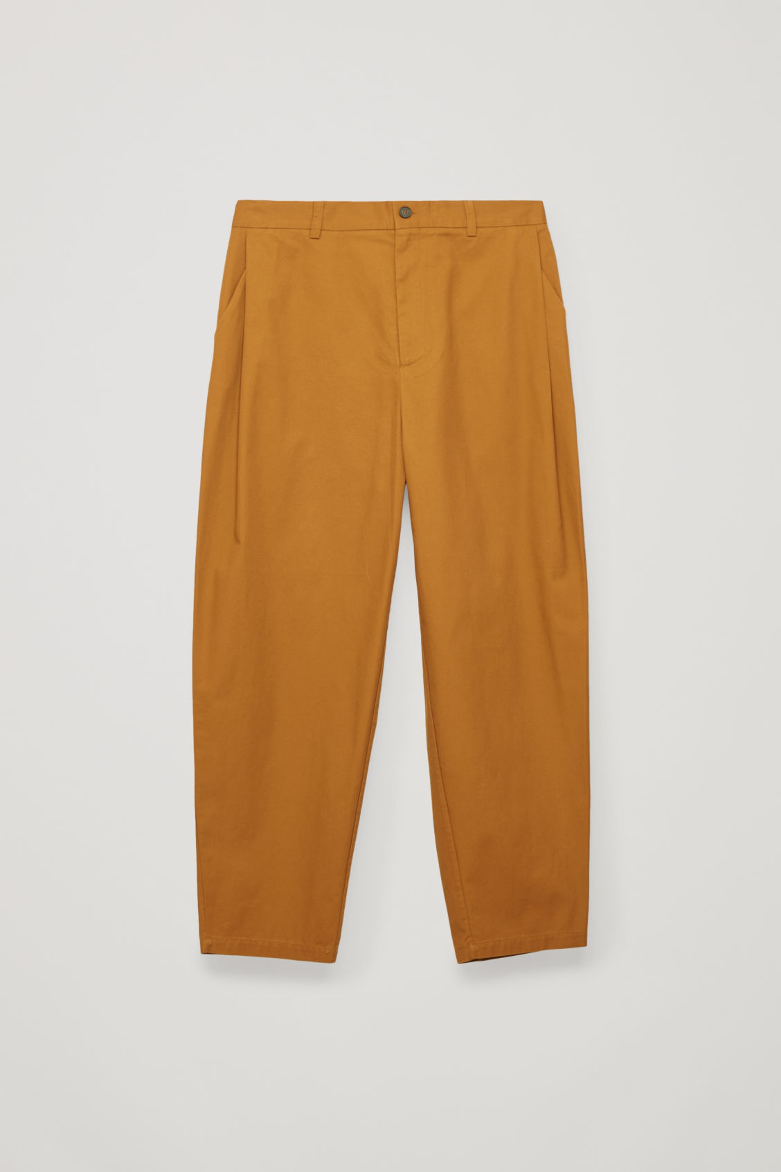 Front image of Cos wide-leg pleated chinos in orange