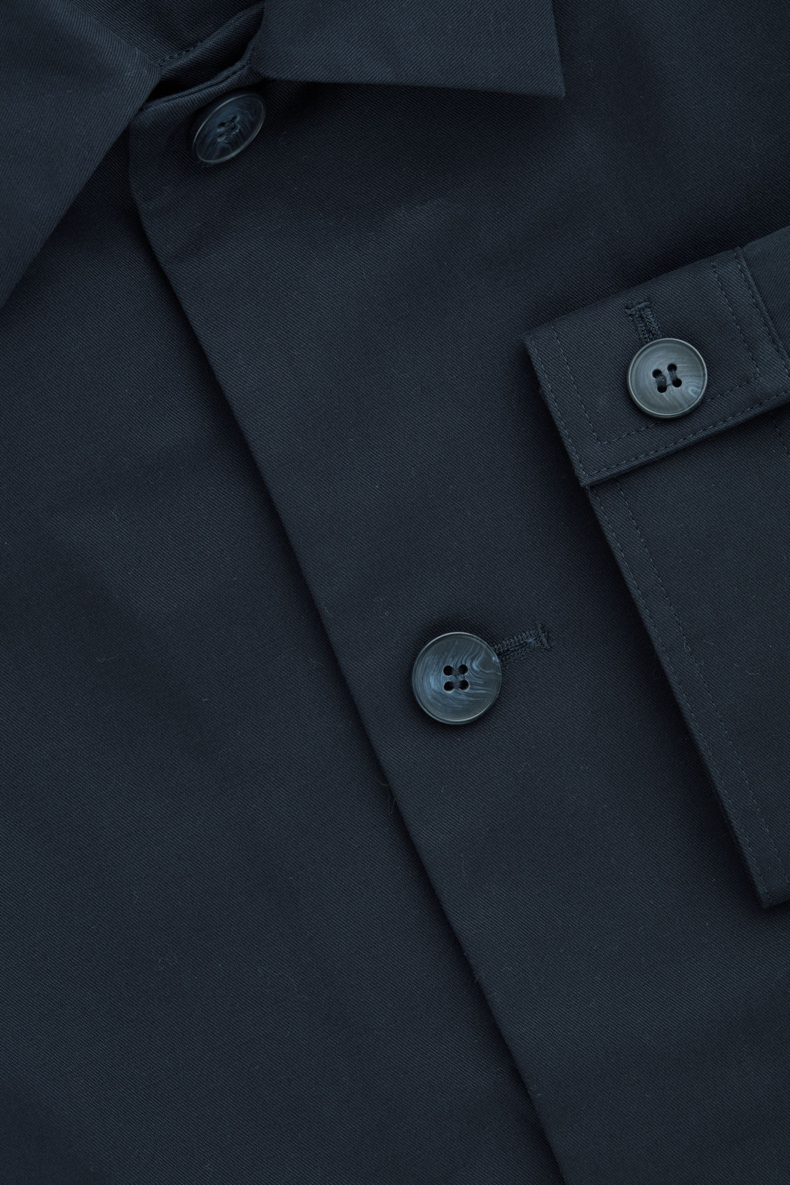 Side image of Cos button-up shirt jacket in blue