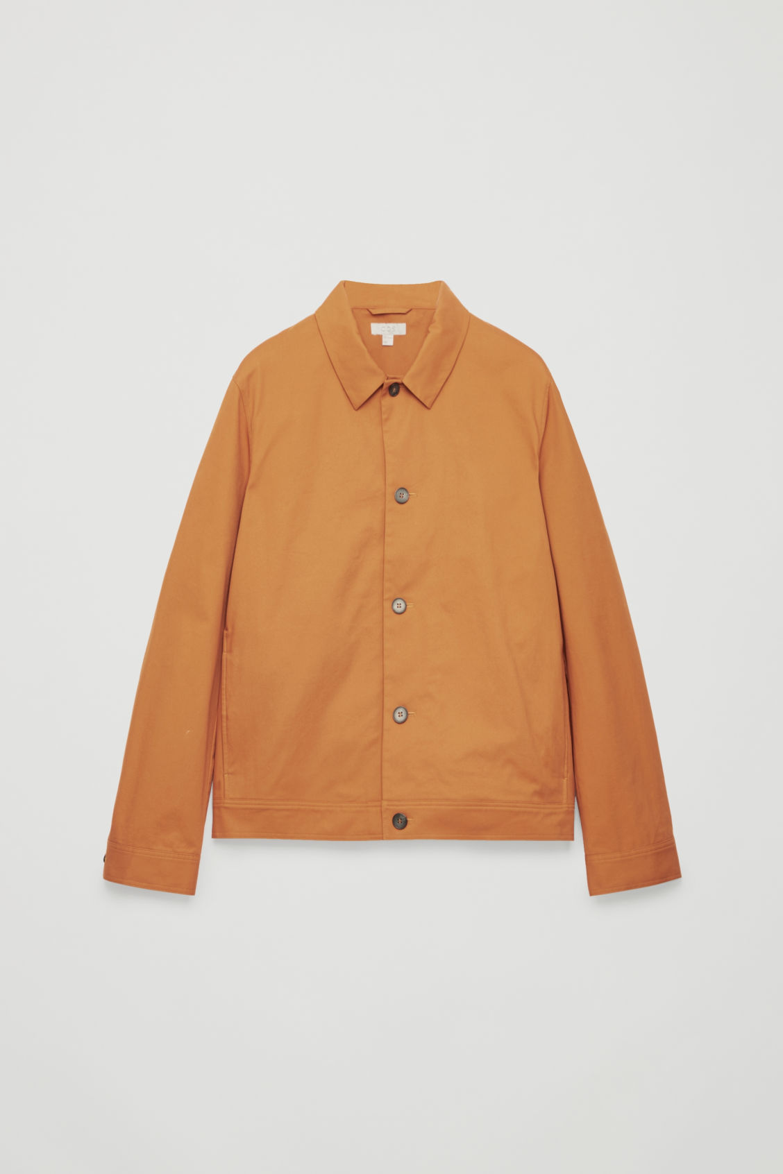 Front image of Cos button-up shirt jacket in orange