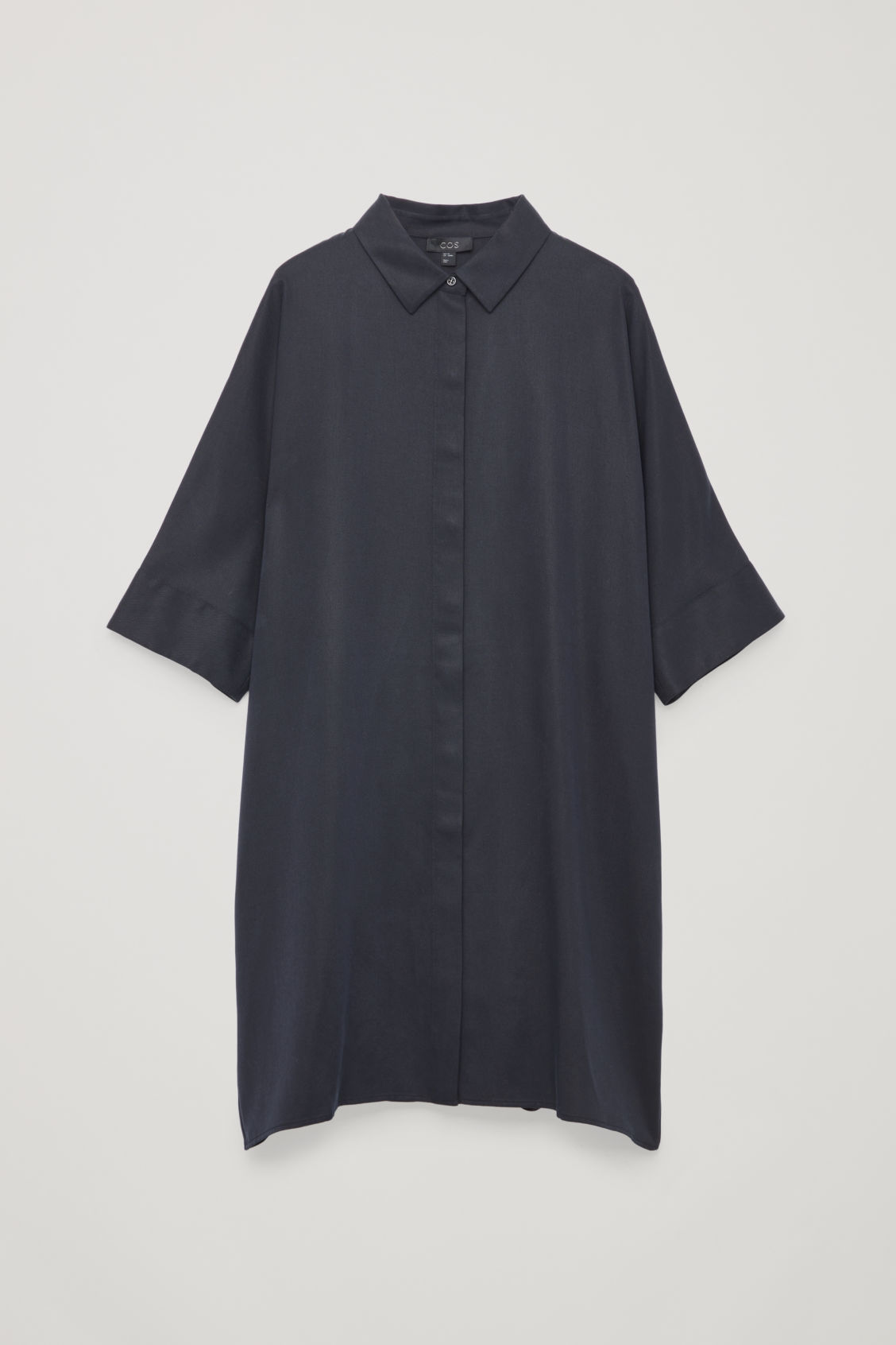Front image of Cos boxy shirt dress in blue